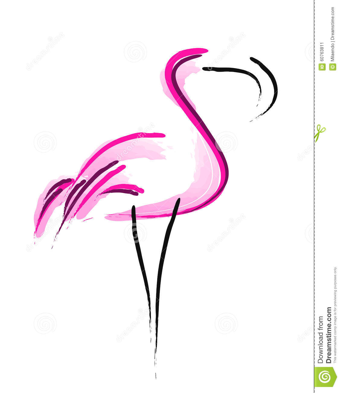 Stock Illustration Flamingos Simple Symbol Image Bird Lines Image Pink Flamingo Vector White Background Image60763811 on cartoon foot