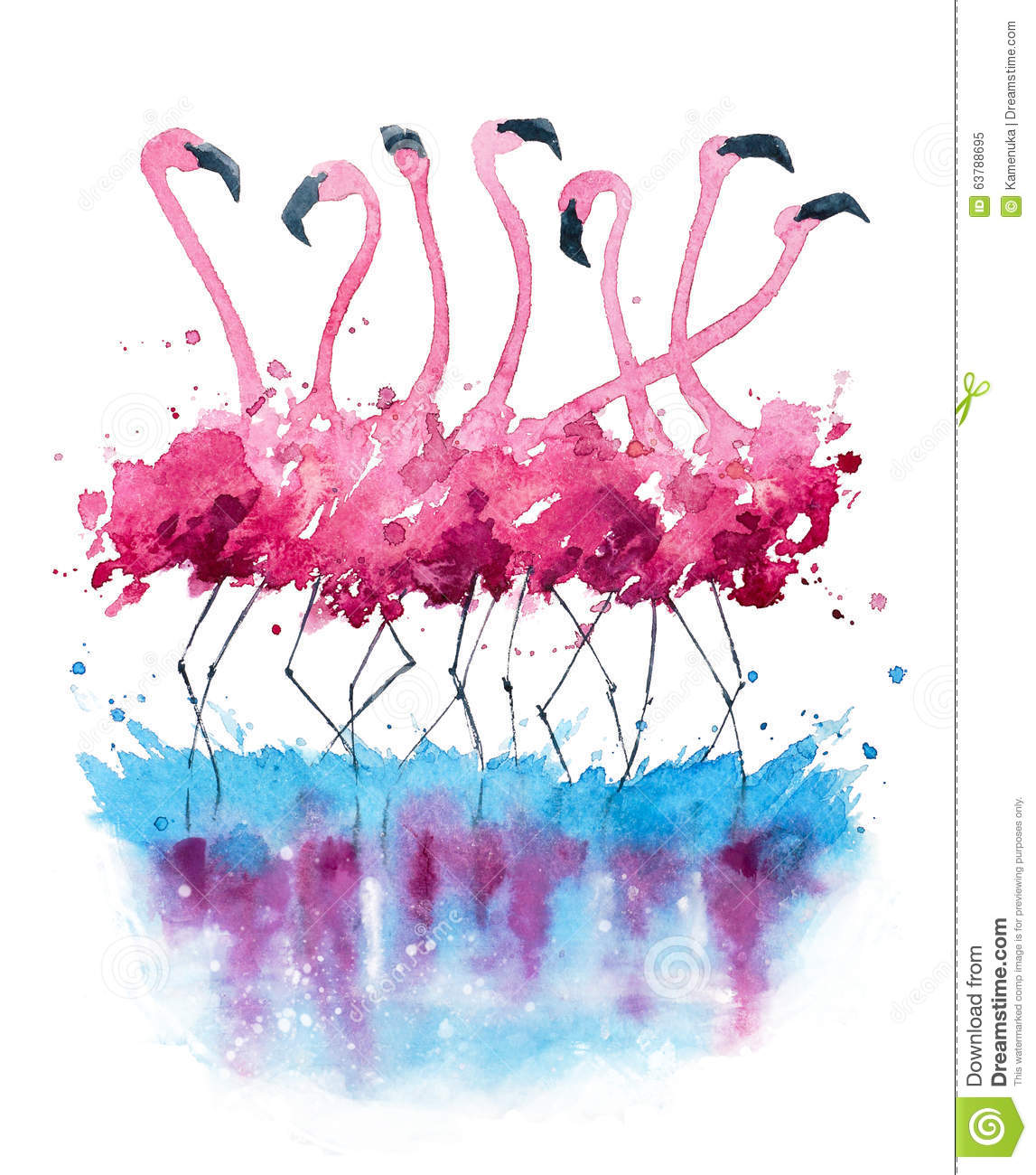 Flamingos watercolor painting stock illustration image for Watercolor paintings of hands