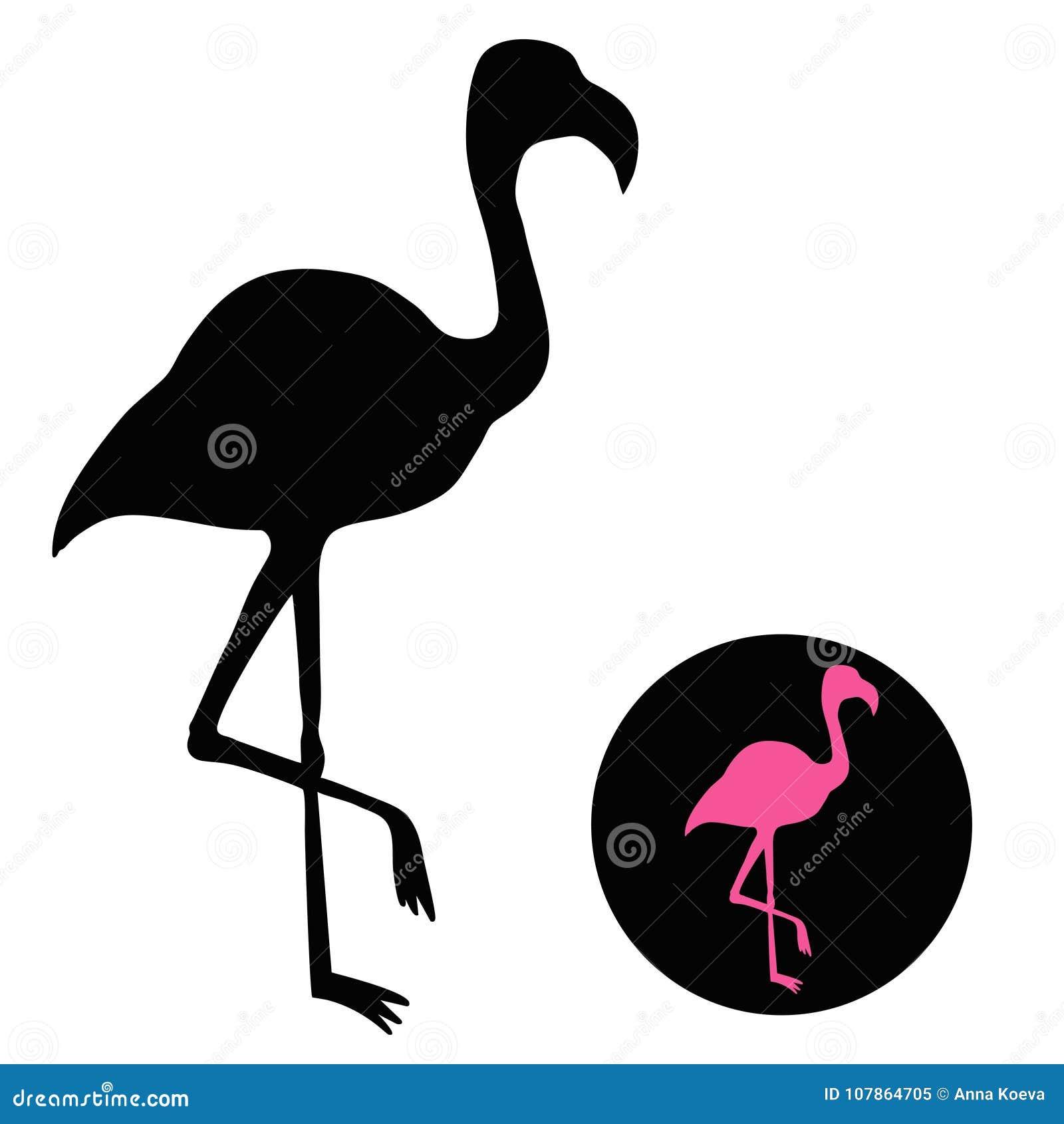 Flamingosilhouet op wit wordt geïsoleerd - vectorillustratie die