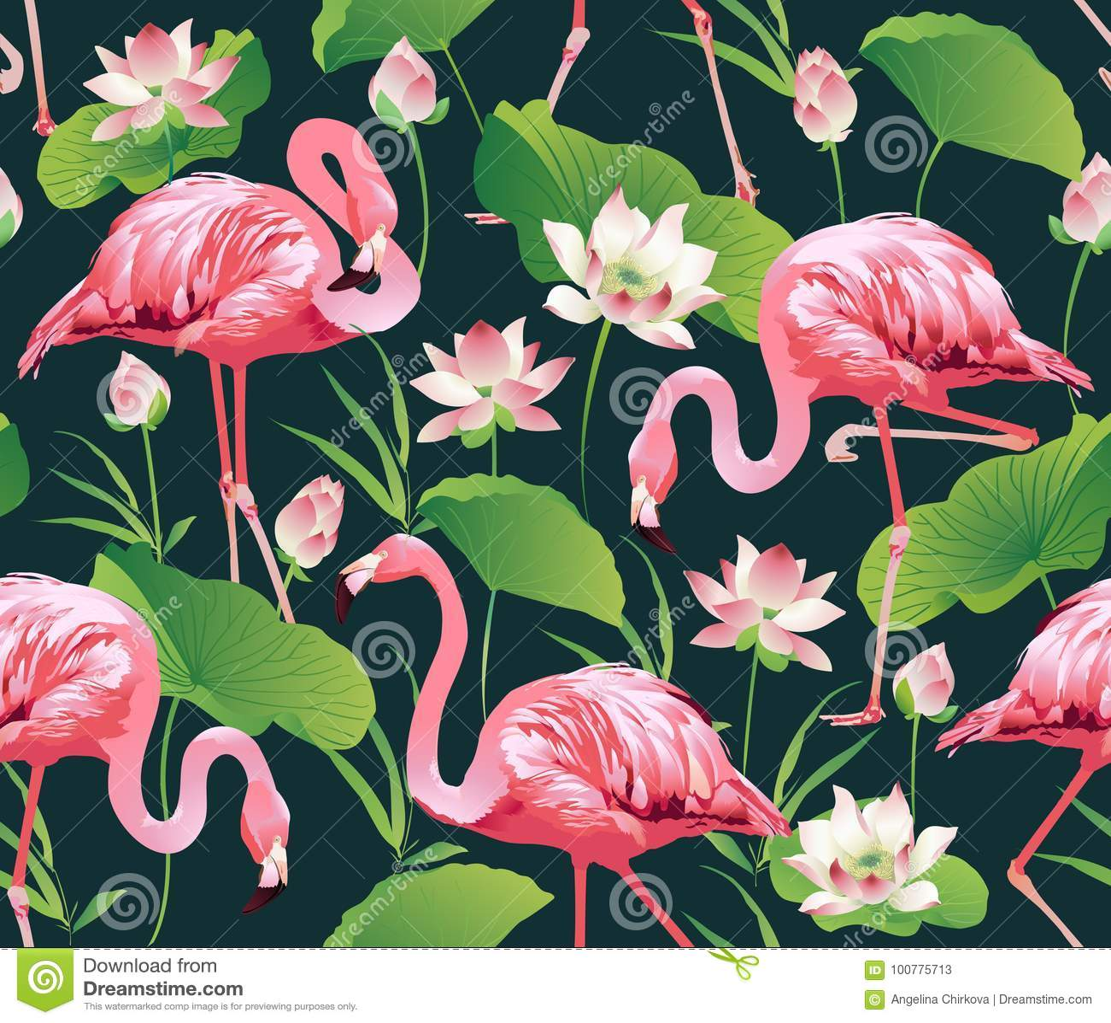 Flamingovogel en de Tropische Achtergrond van lotusbloembloemen - Naadloos patroon