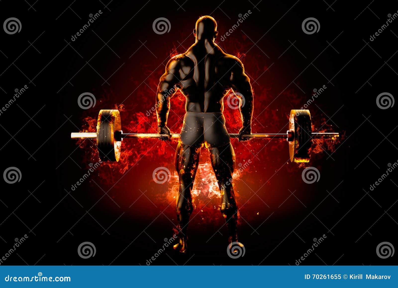 Flammande idrottsman nen med en skivstång tillbaka sikt framförande 3d