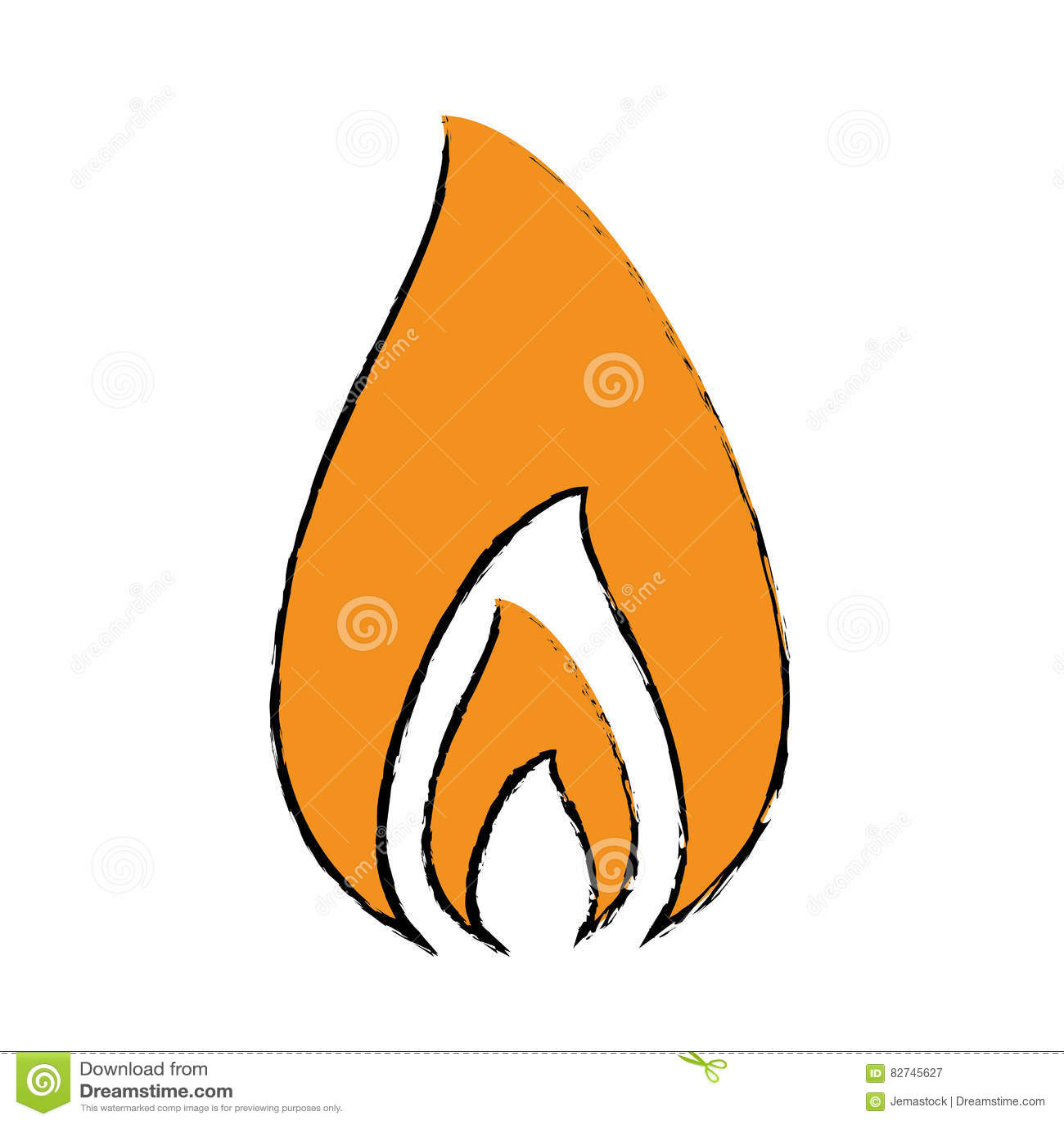 Flamme Du Feu De Dessin Brûlant La Conception Chaude Illustration De