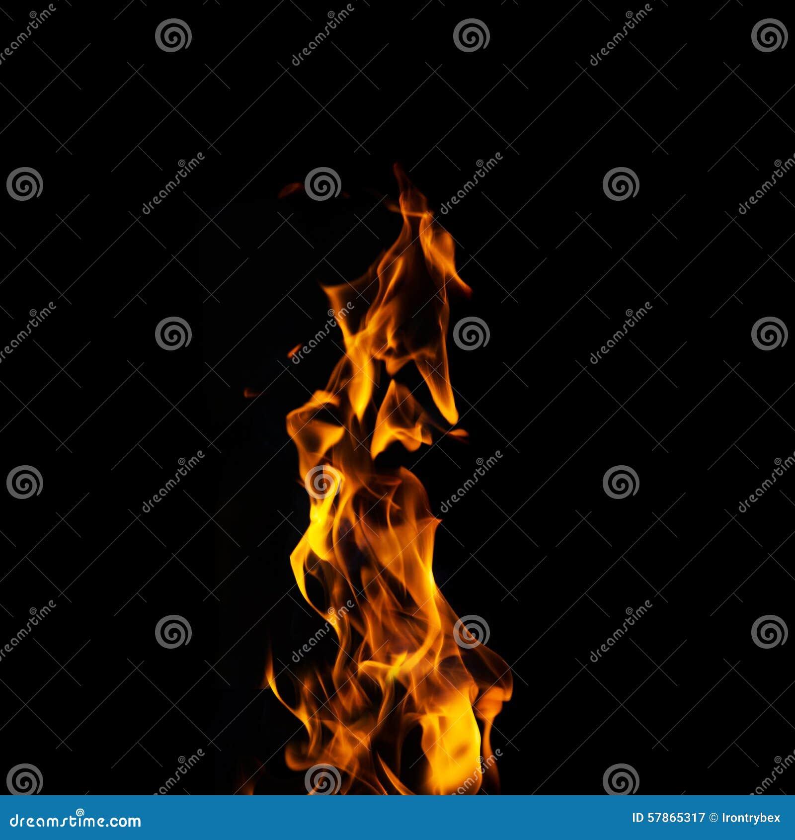 Flamme Simple Du Feu Sur Le Fond Noir Illustration Stock