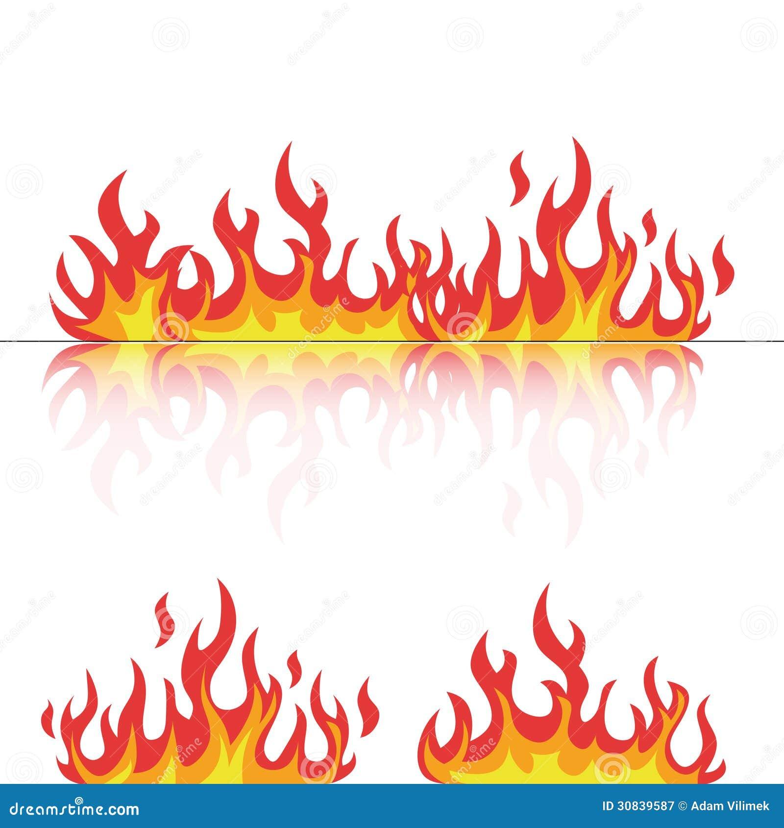 flammen eingestellt mit reflexion auf wei stock abbildung. Black Bedroom Furniture Sets. Home Design Ideas