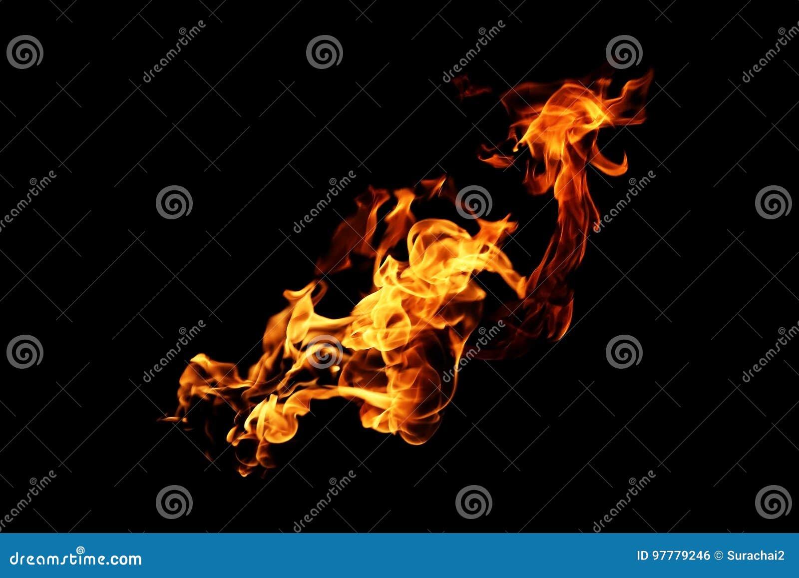 Flammes du feu brouillées par résumé d isolement sur le noir