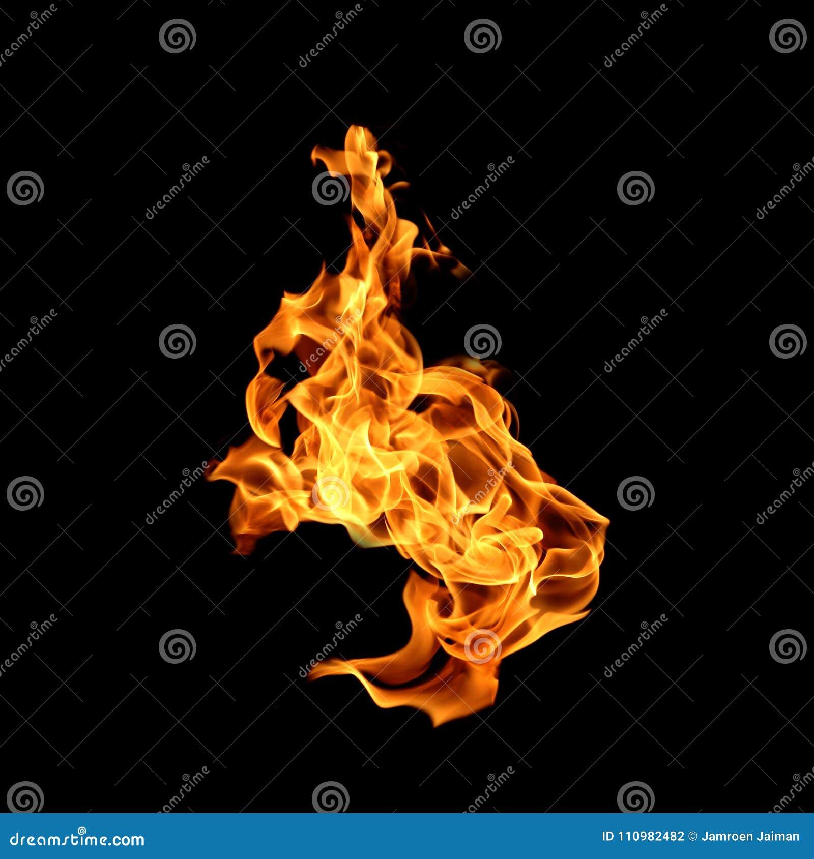 Flammes du feu d isolement sur le fond noir