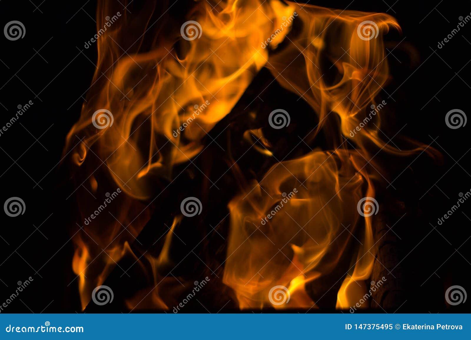 Flammes du feu sur le fond noir Rages du feu dans l obscurit? Feu la nuit Les flammes dansent