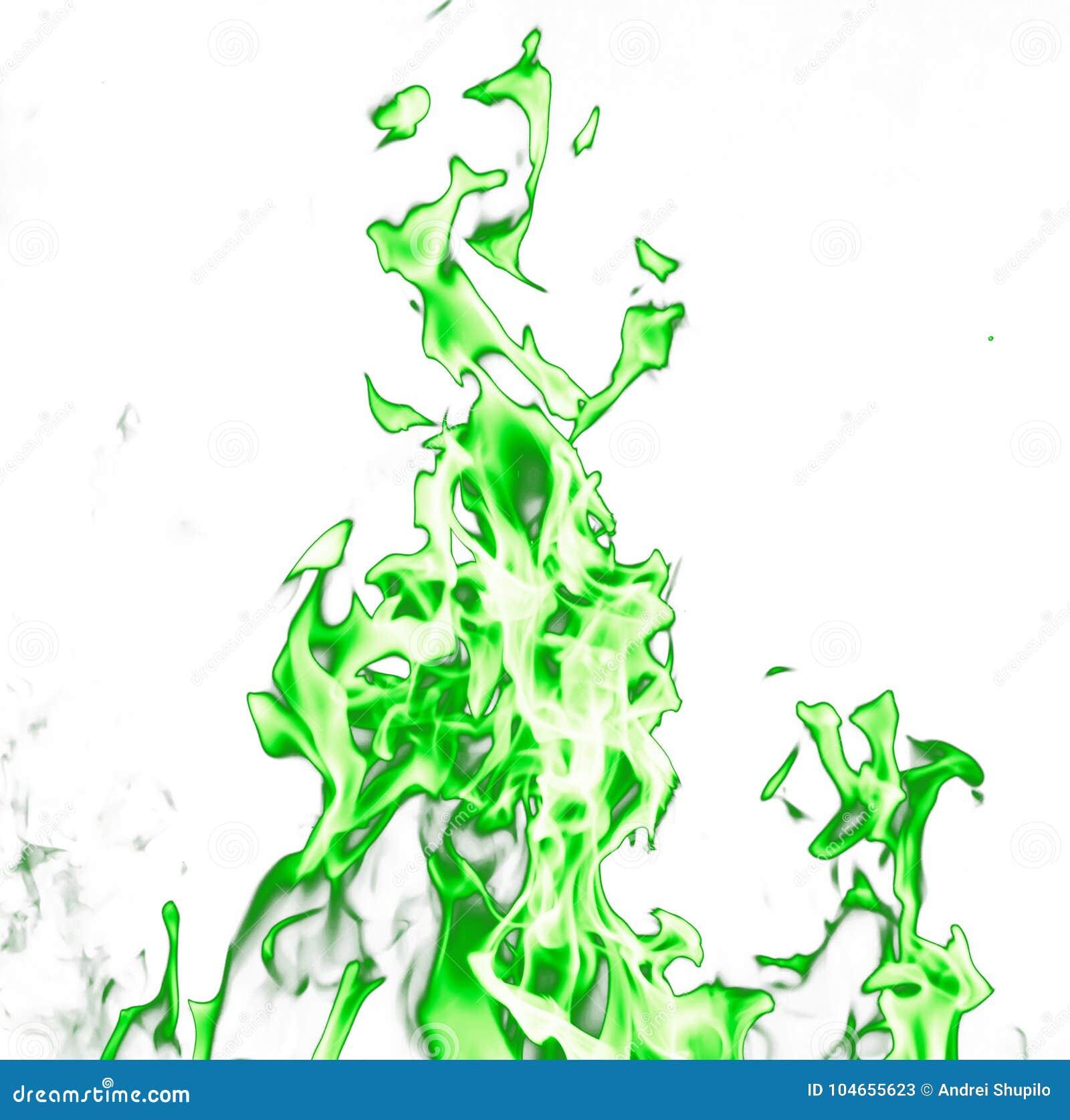 Flammes vertes du feu sur un fond blanc