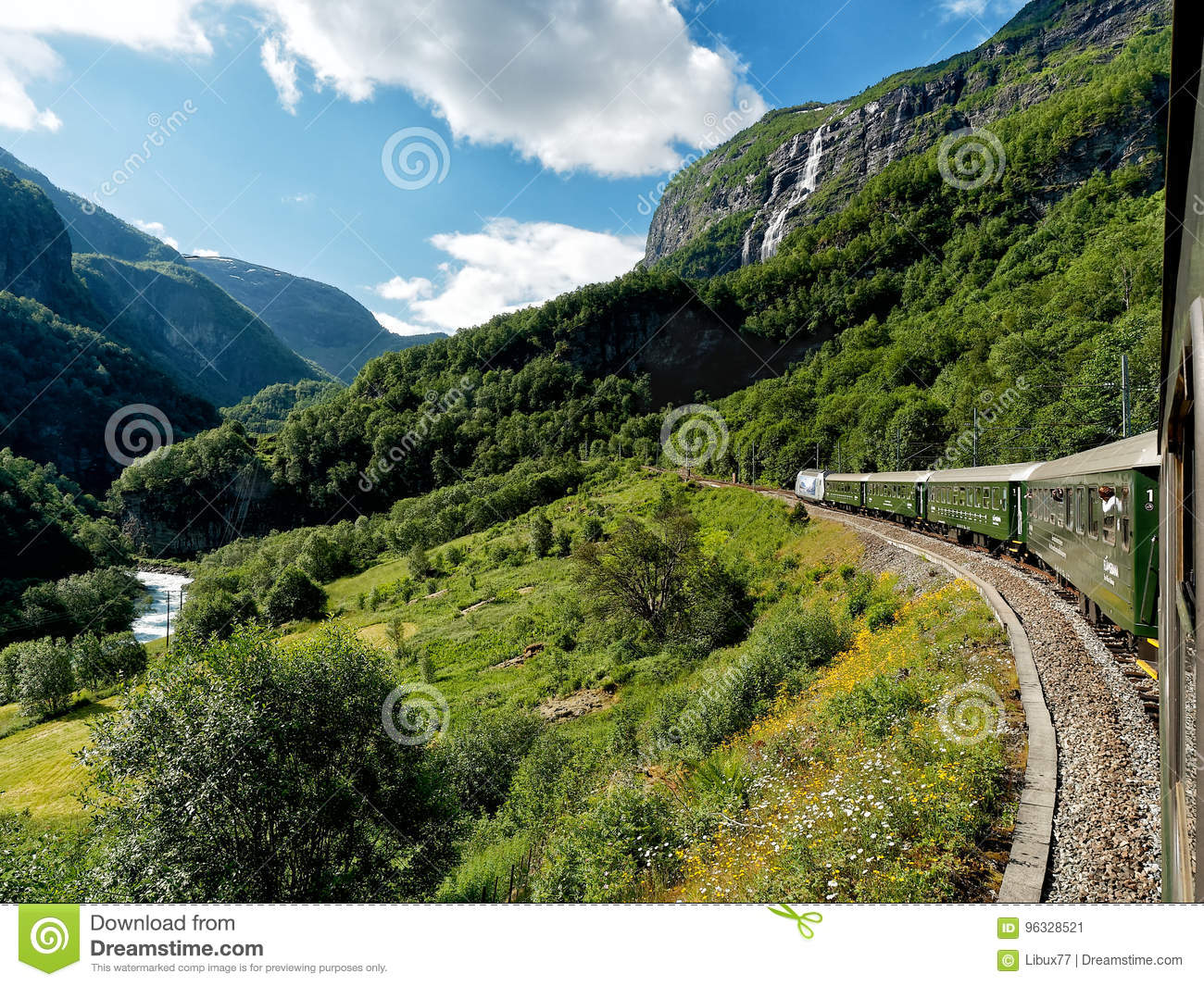 flamsbana train going on flam railway norway editorial photo image