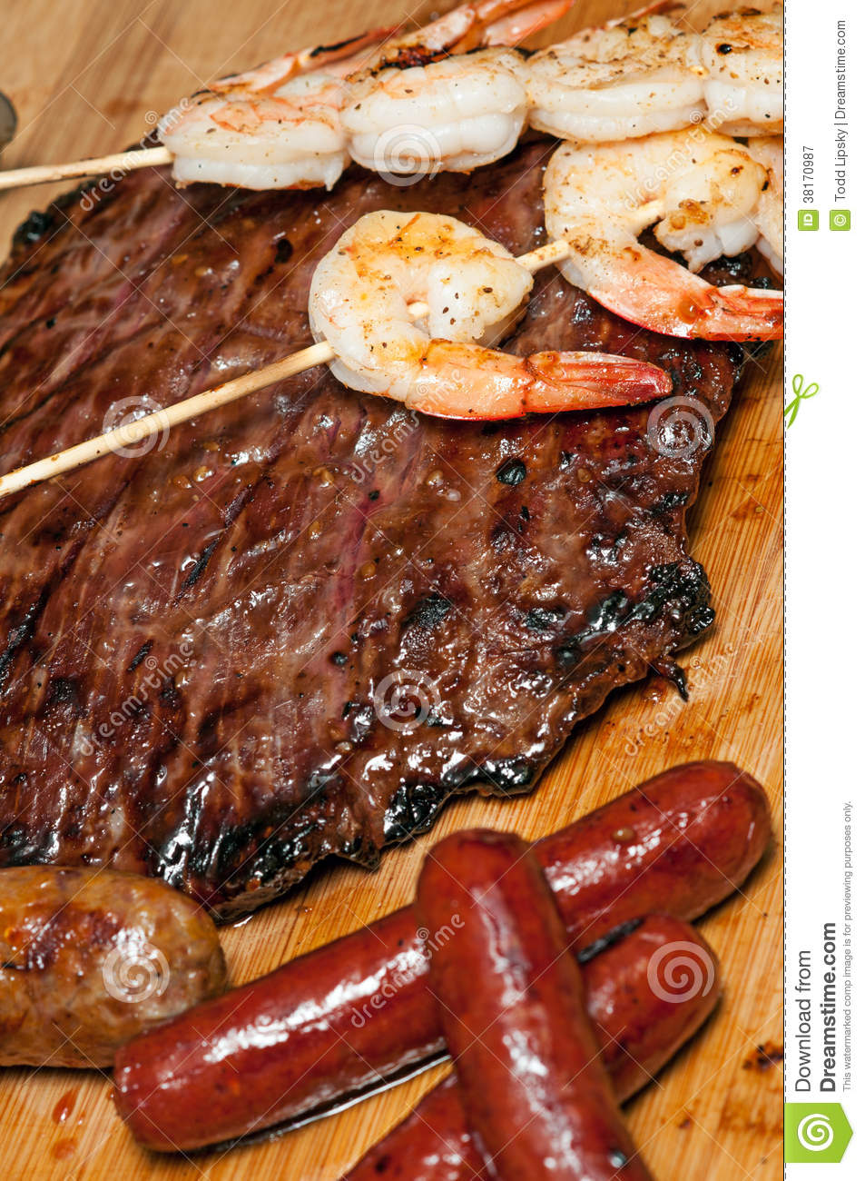 Flank Steak, Shrimp And Sausage Royalty Free Stock ...