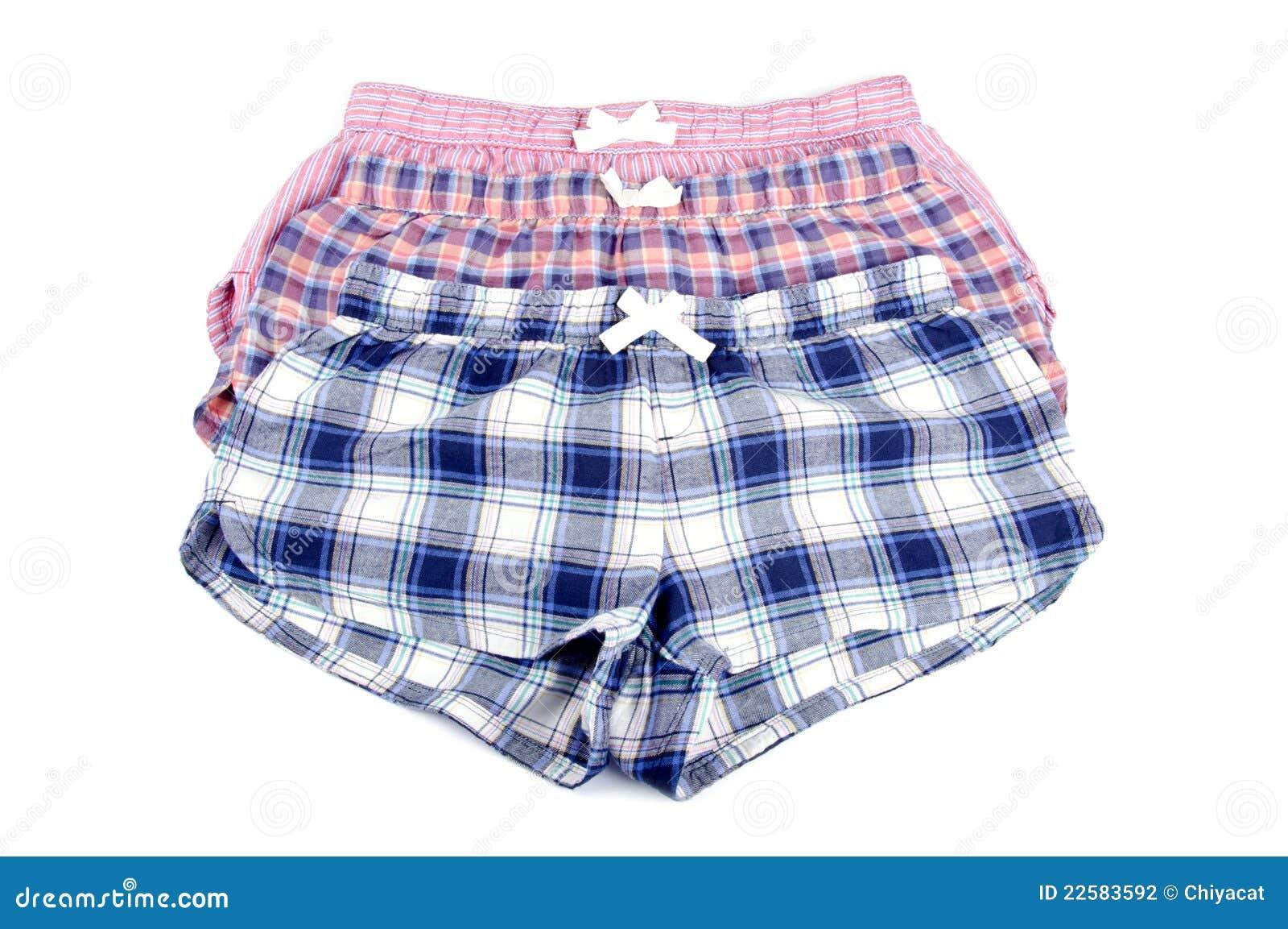 Flannel Pajamas Shorts Isolated On White Stock Photography - Image ...