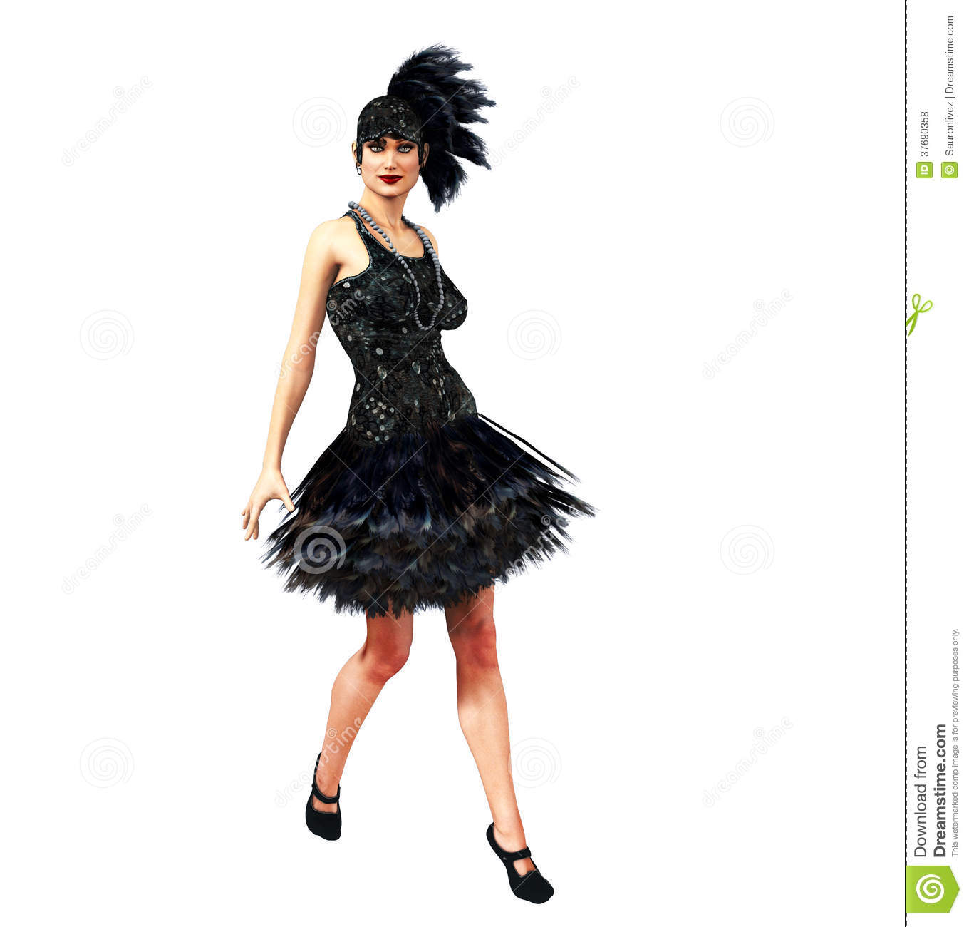 Flapper Girl In A Black Dress Royalty Free Stock Photos - Image ...