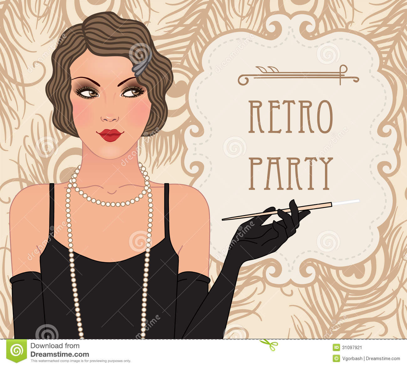 Flapper Girl: Retro Party Invitation Design Stock ...
