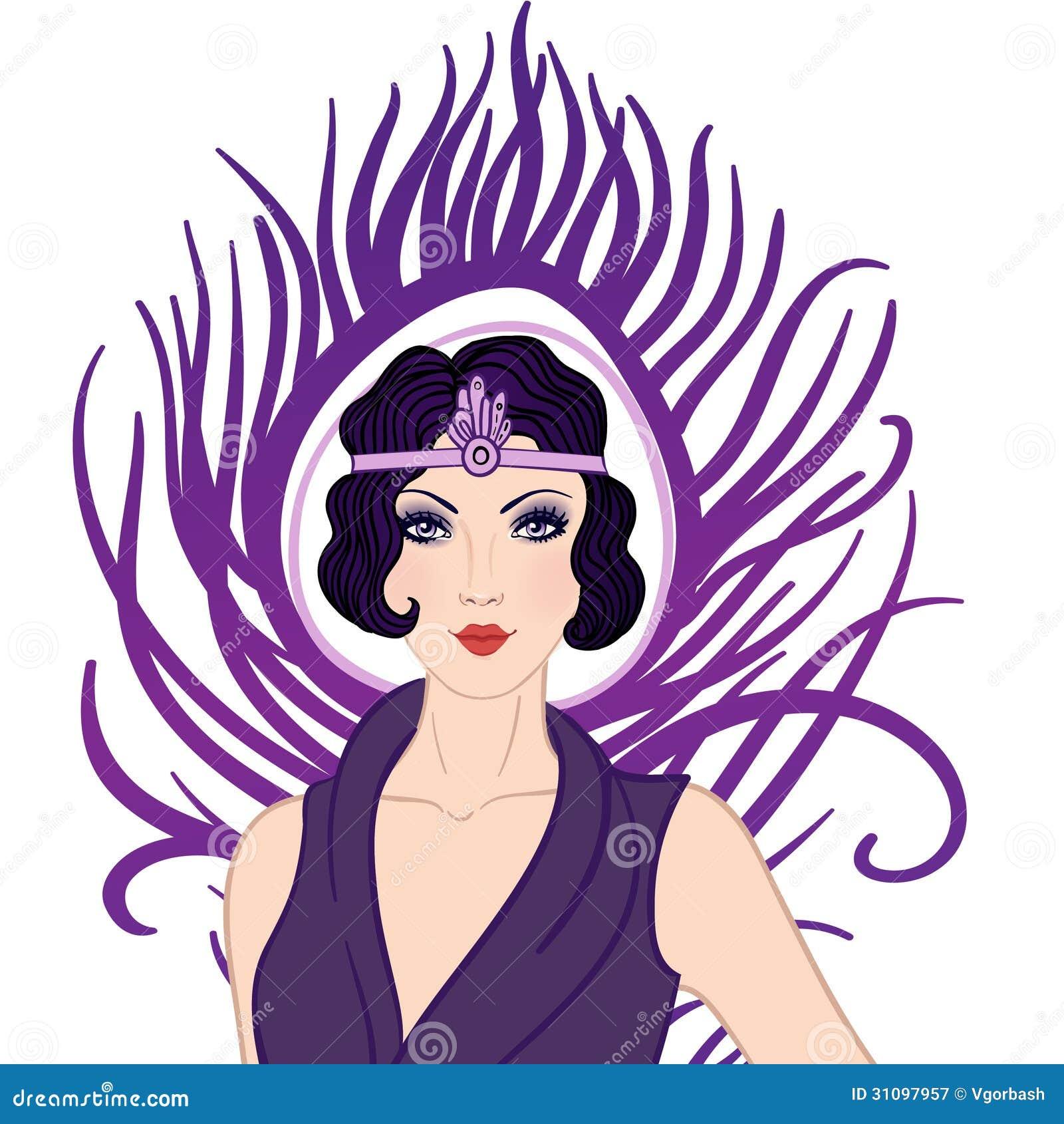 Flapper clip art flapper girl retro party invitation design art