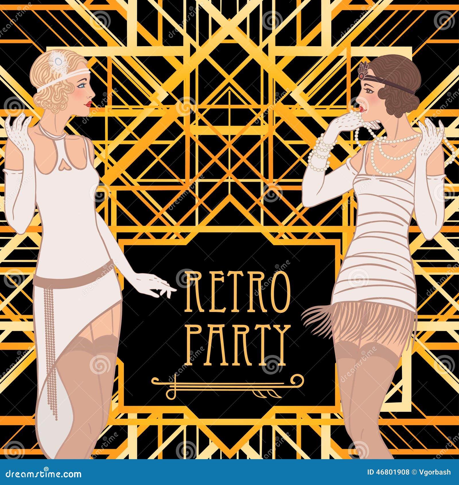 flapper girl retro party invitation design stock illustration