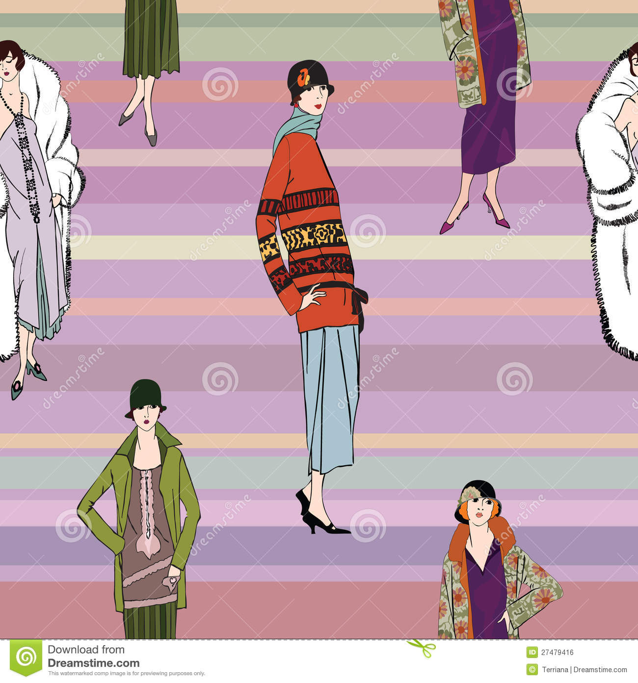 Flapper Girls 20s Style Retro Fashion Party Vector Illustration 27587158