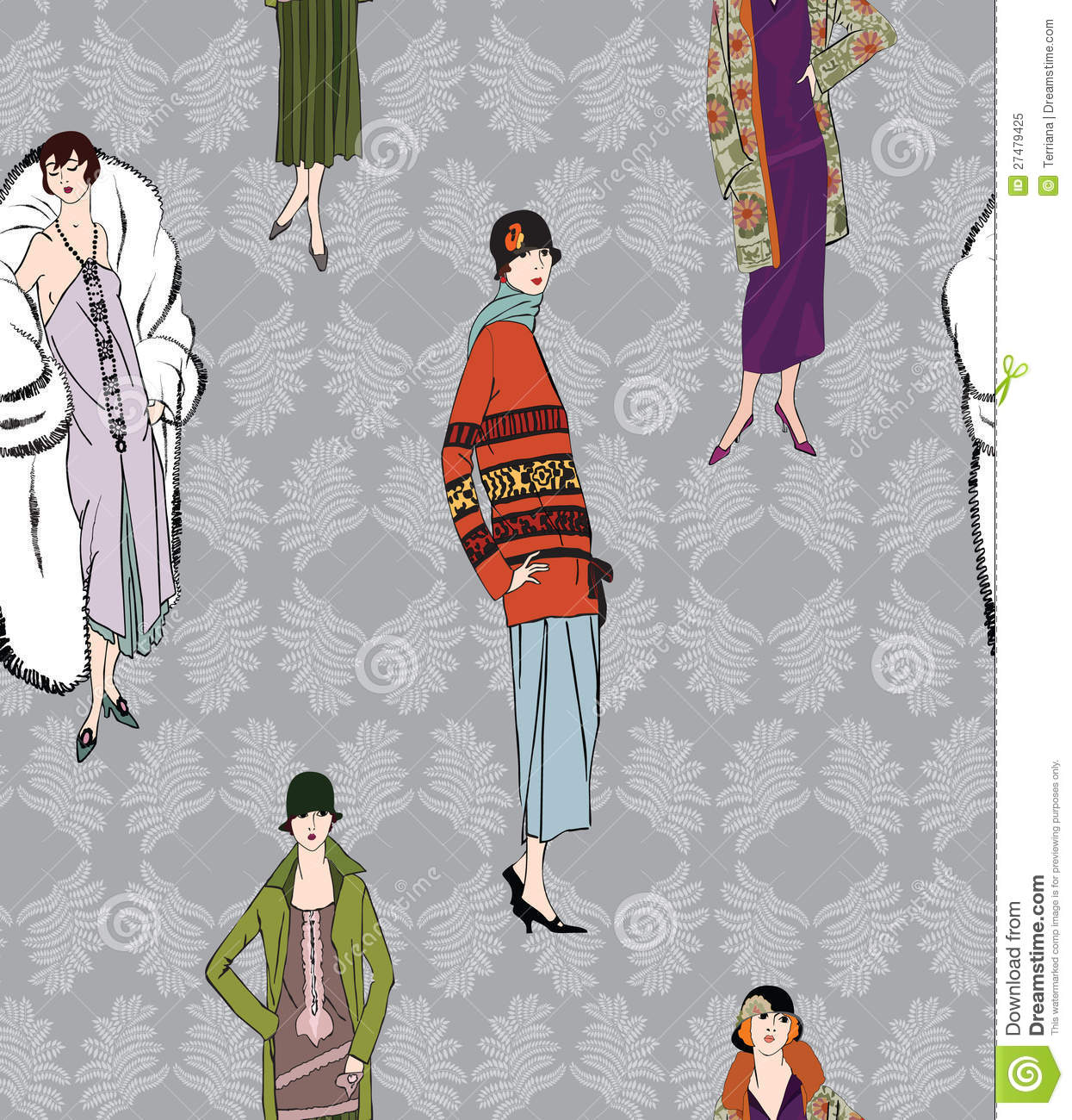 Flapper Girls 20s Style Retro Fashion Party Vector Illustration 27587144