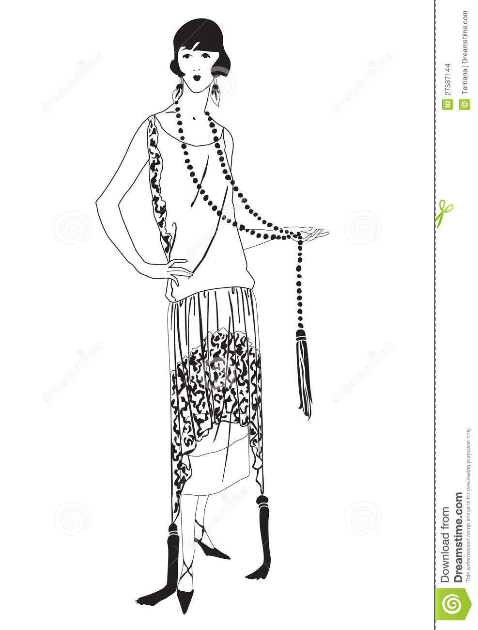 flapper girls 20s style retro fashion party stock