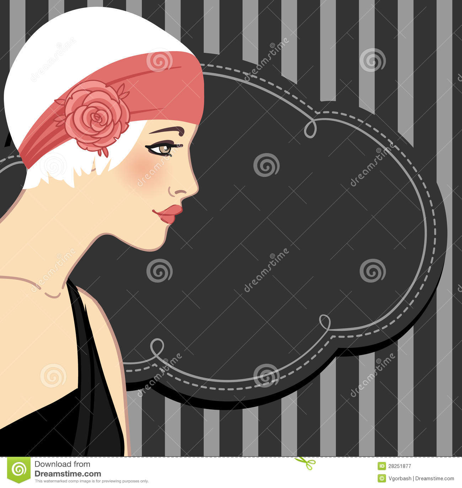 Flapper girls set: retro party invitation design in 20 s style