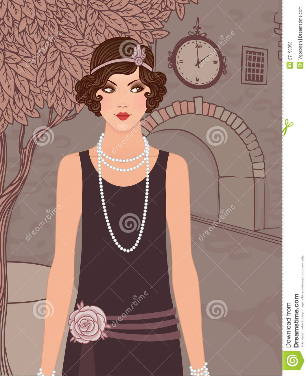 Royalty free stock photos flapper girls set vintage woman in 1920s