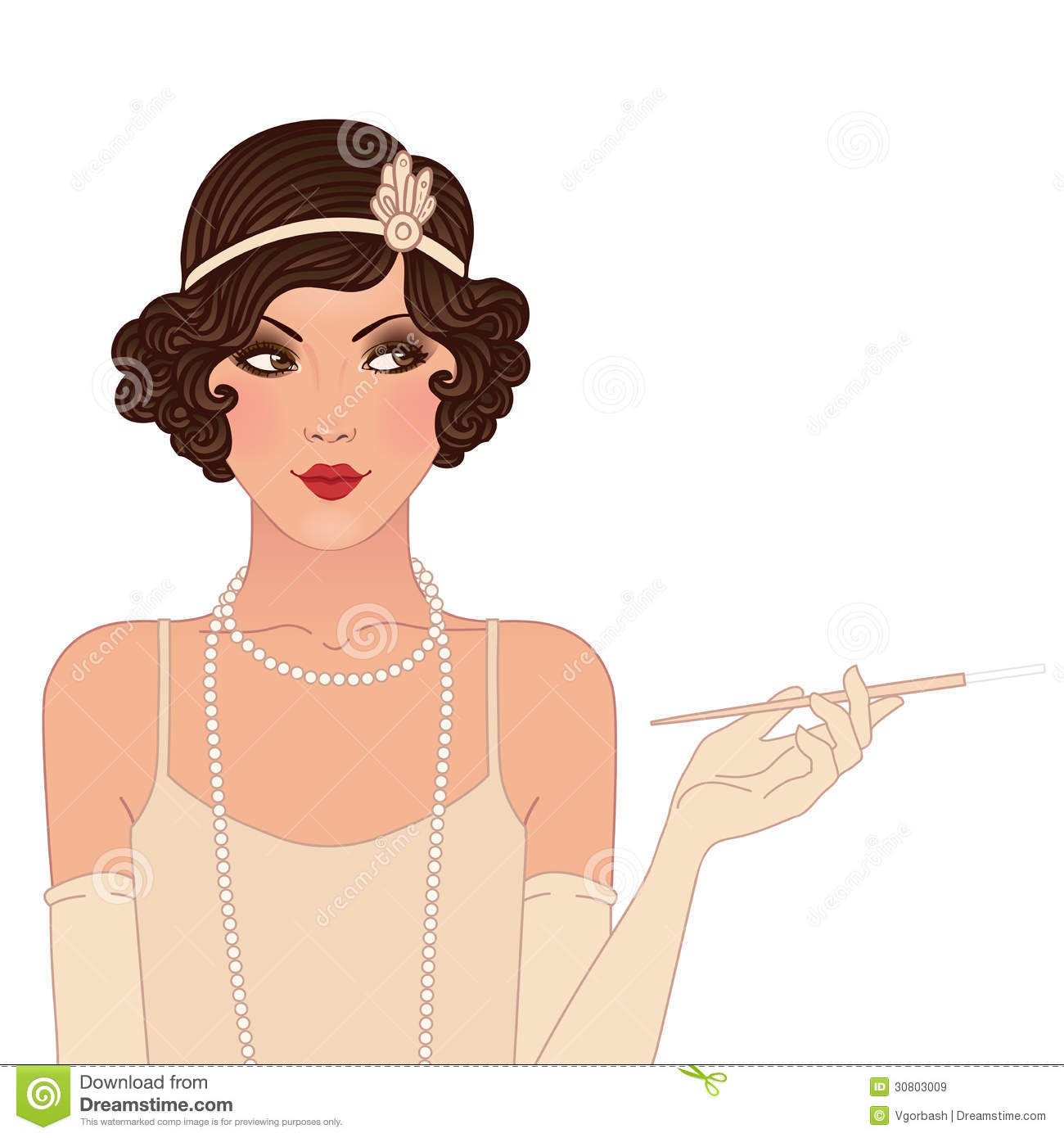 Flapper girls set: young beautiful woman of 1920s. Vintage style