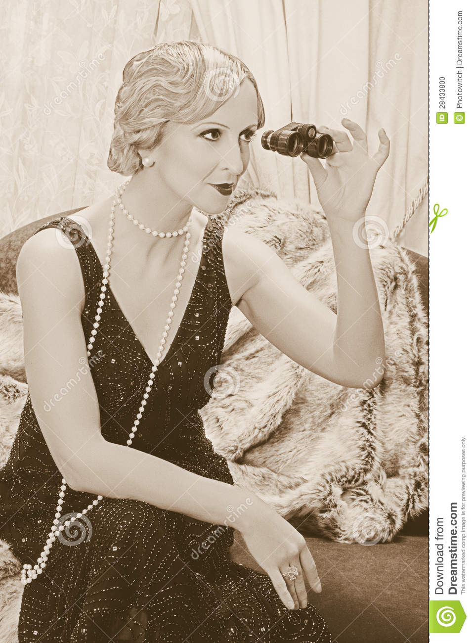 Flapper Lady With Binoculars Stock Photo Image 28433800