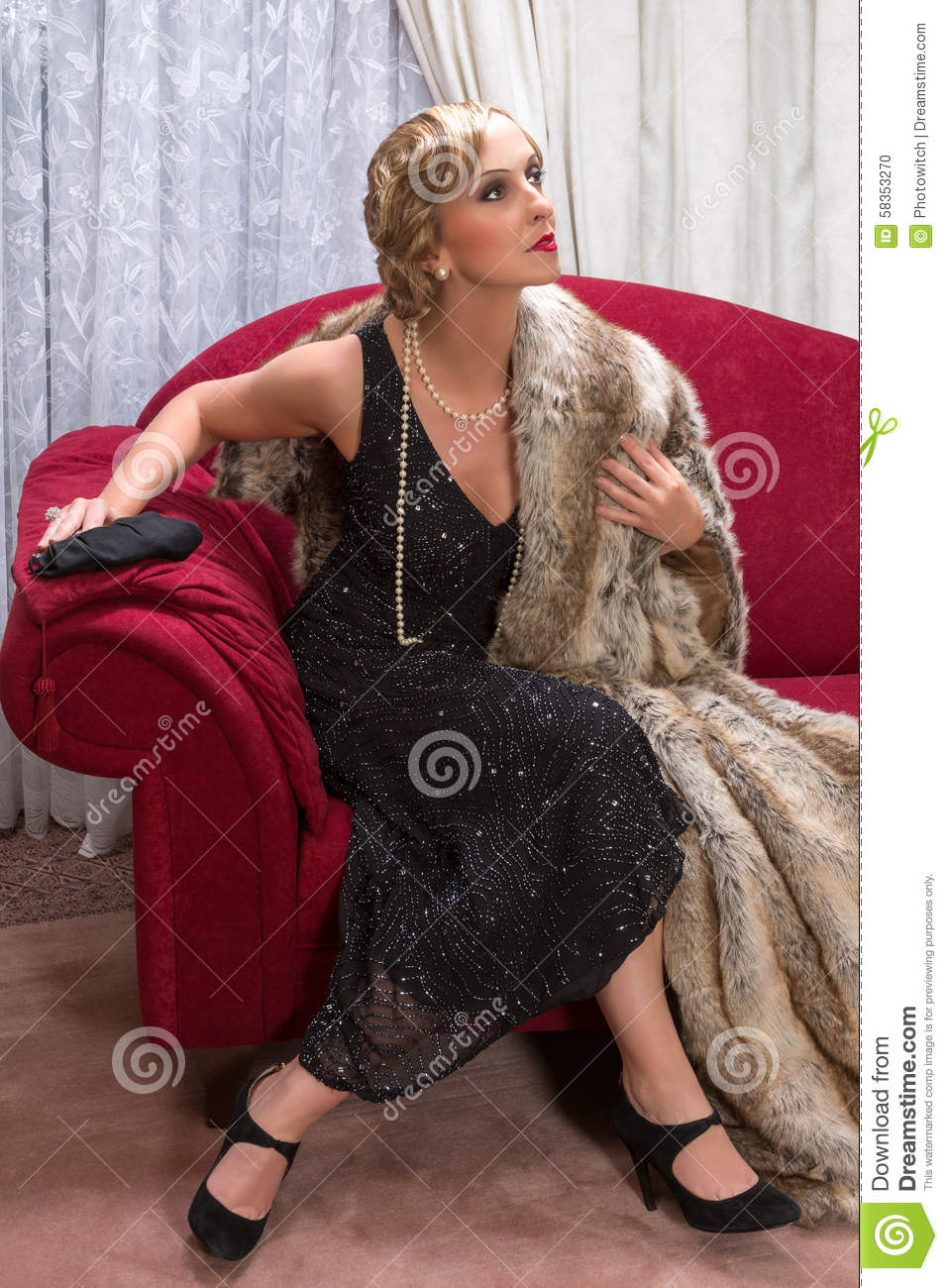 Flapper woman in charleston style stock photo image for Chaises longues tressees