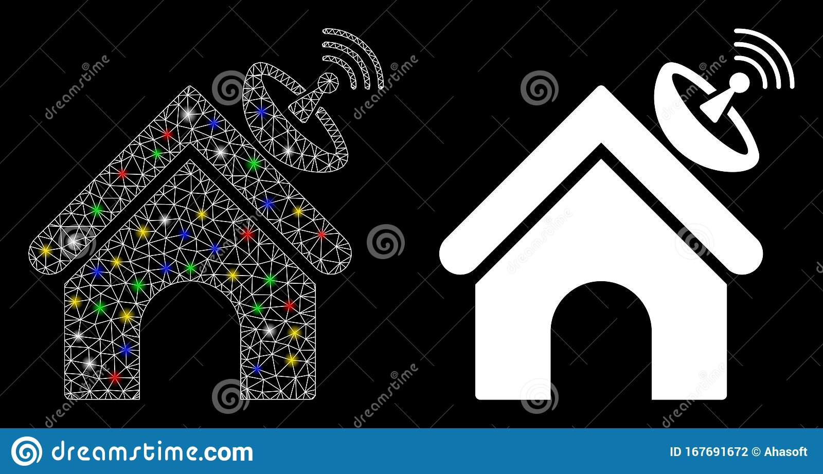 Flare Mesh 2d Space Antenna Building Icon With Flare Spots