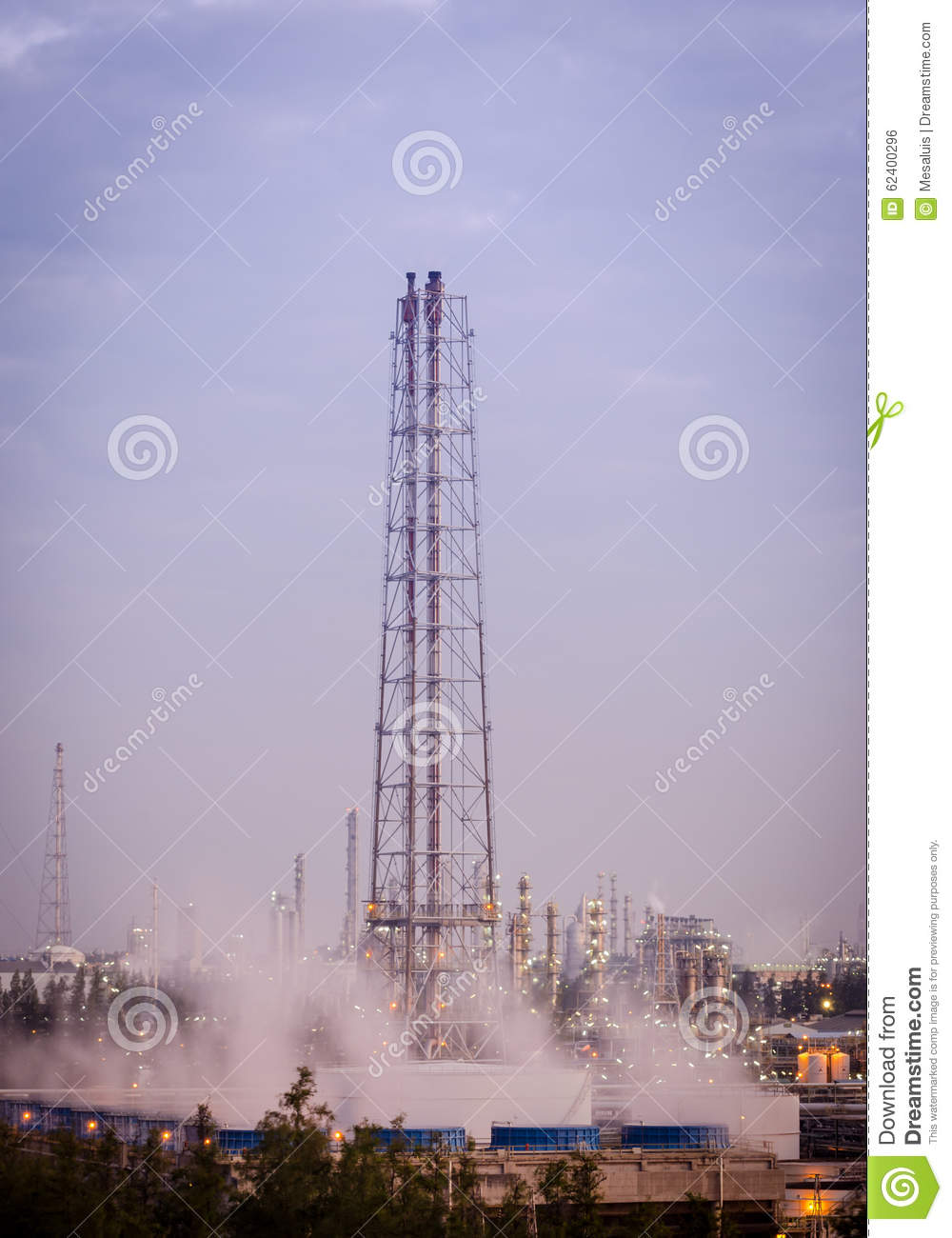 Flare Stack At Oil Refinery Stock Photo - Image of distillation