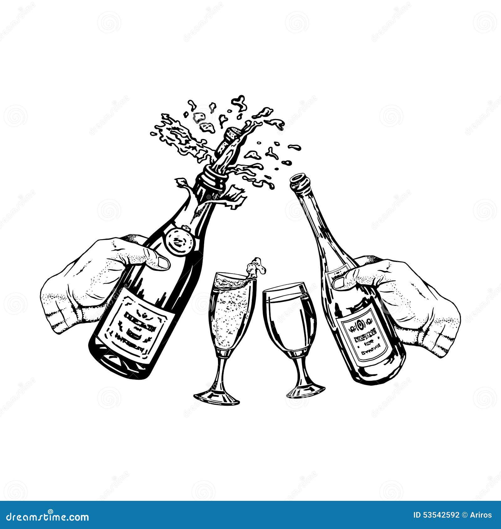 flasche champagner und flasche wein in der hand und gl ser vektor abbildung bild 53542592. Black Bedroom Furniture Sets. Home Design Ideas