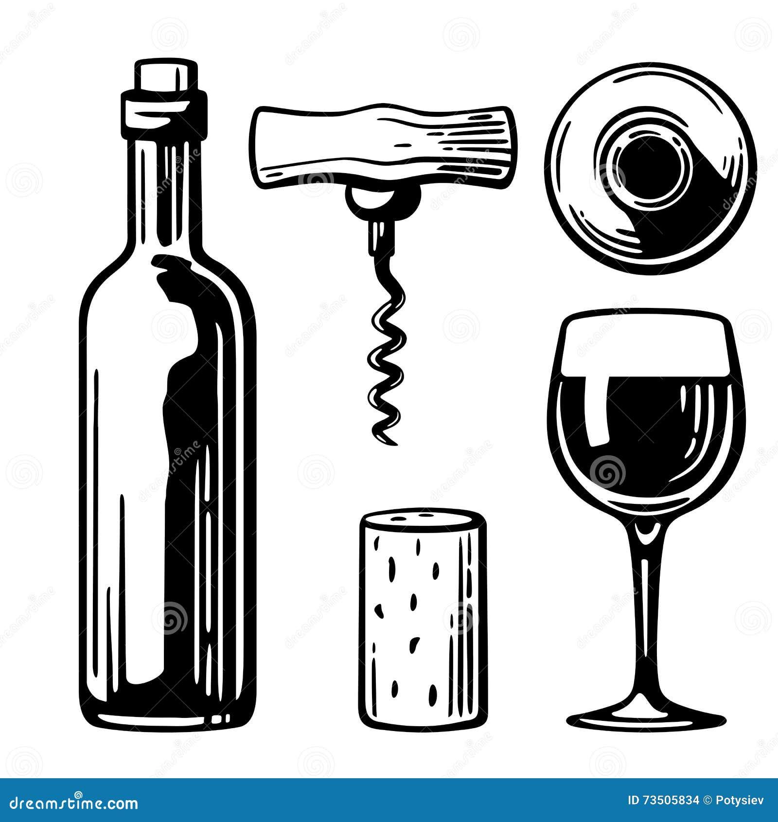 Flasche, Glas, Korkenzieher, Korken Seiten- und Draufsicht Schwarzweiss-Weinleseillustration für Aufkleber, Plakat des Weins, Net