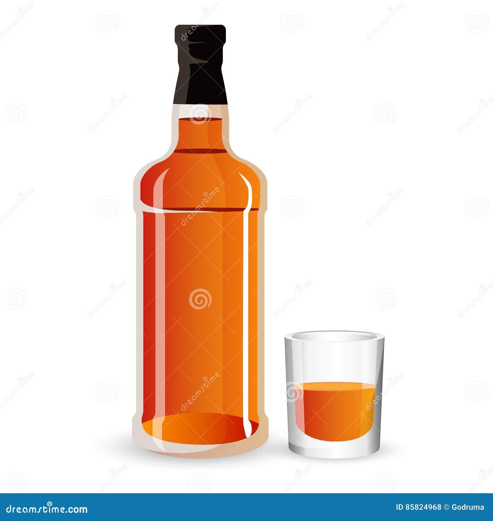 Flasche Von Alkohol Getränk Und Stemware Whisky, Schottisch Oder ...