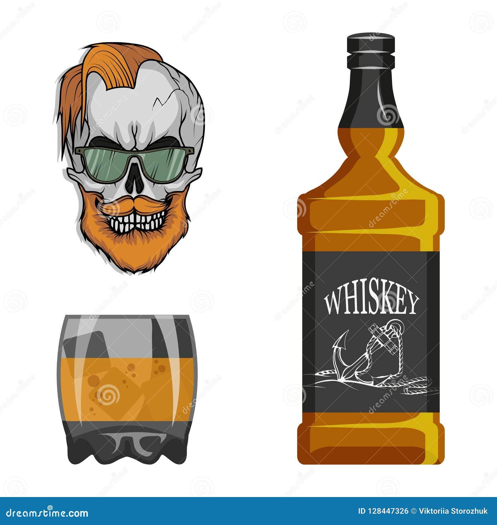 Flasche Whisky und Glas, Besäufnis, Flasche und ein Glas, Alkoholgetränk, Alkohol für Männer, Flasche Whisky, alt