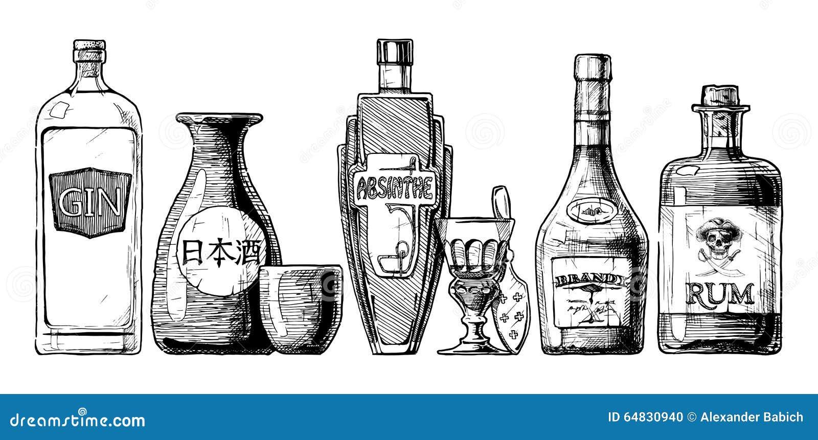 flaschen alkohol destilliertes getr nk vektor abbildung. Black Bedroom Furniture Sets. Home Design Ideas