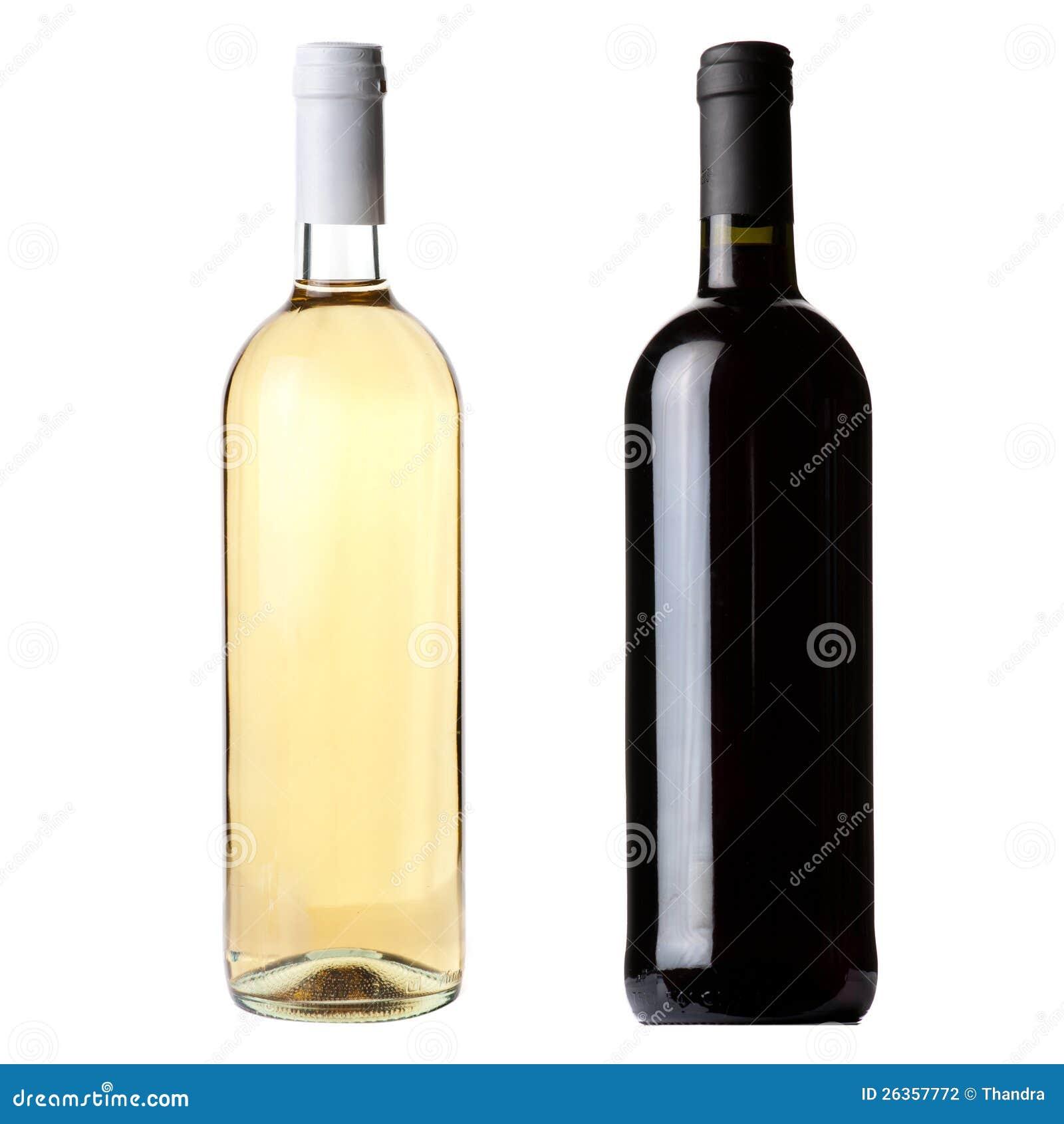 Flaschen des roten und weißen Weins