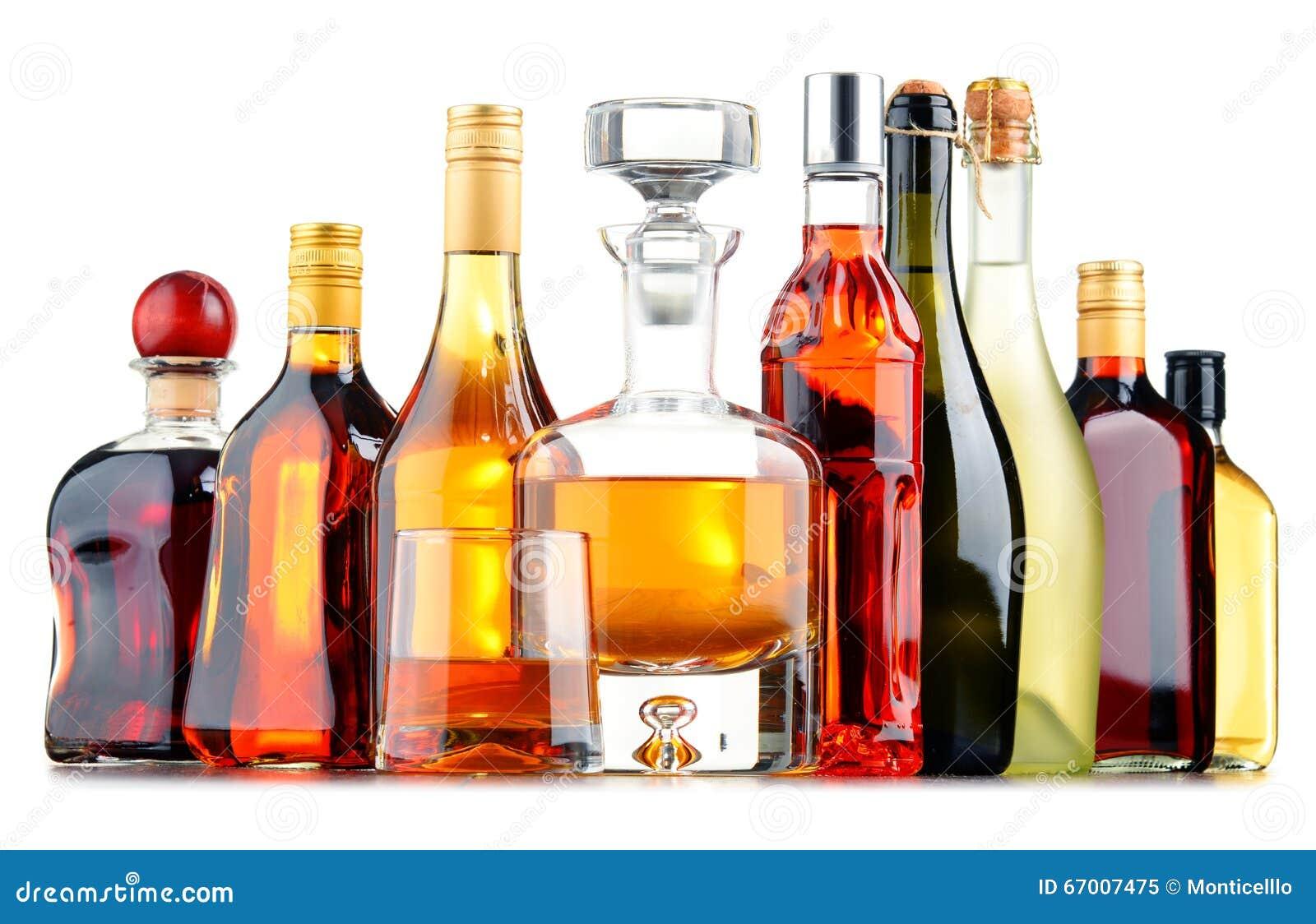Flaschen Sortierte Alkoholische Getränke Stockbild - Bild von glas ...
