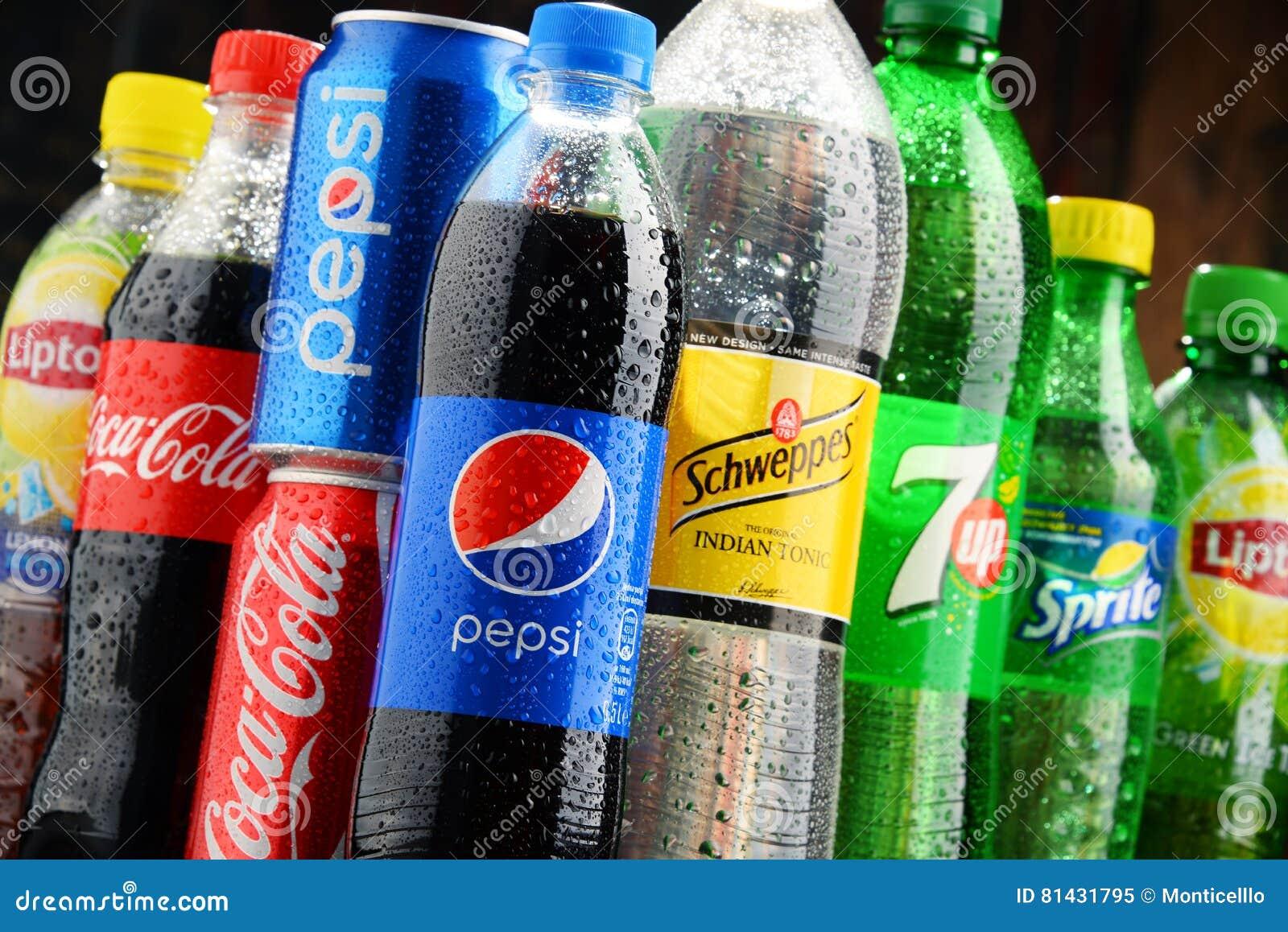Flaschen Sortierte Globale Alkoholfreie Getränke Redaktionelles Bild ...