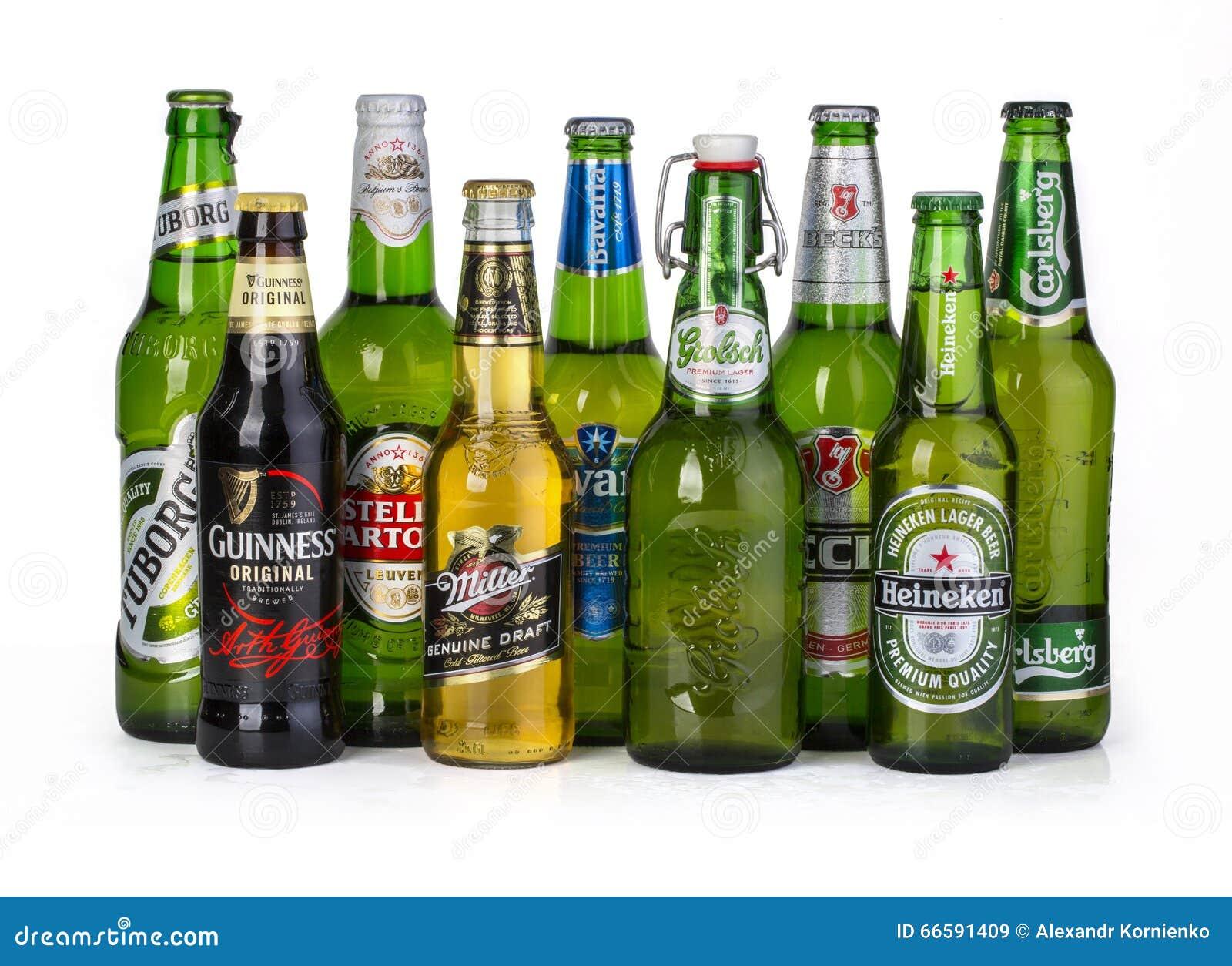 Flaschen sortierte kalte Biere