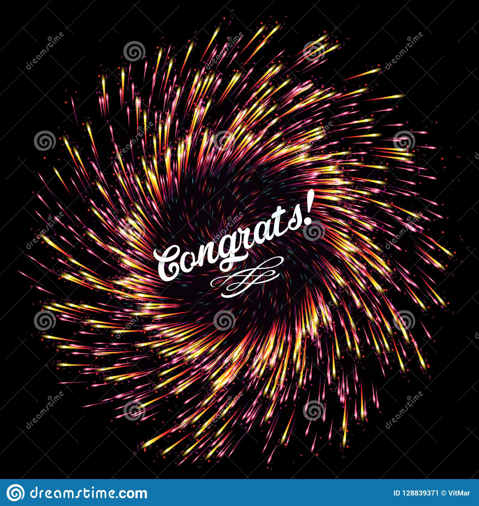 the flash of abstract fireworks on a dark background bright explosion festive lights congratulation