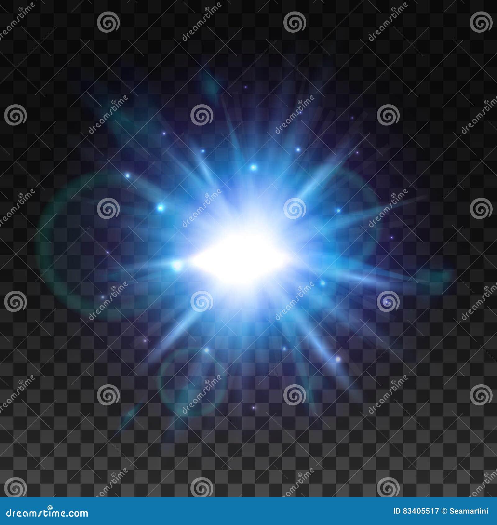 Flash claro da estrela com efeito do alargamento da lente