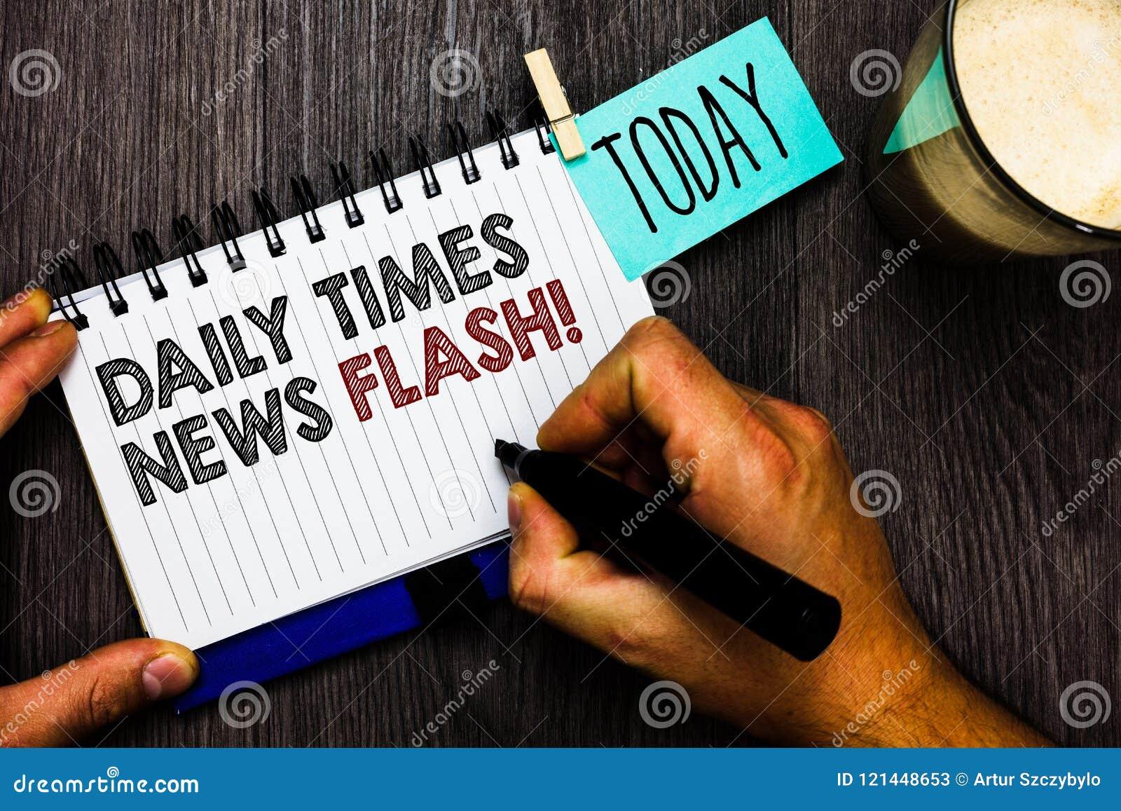 Flash noticioso de Daily Times do texto da escrita da palavra O conceito do negócio para a resposta rápida às ações aconteceu no