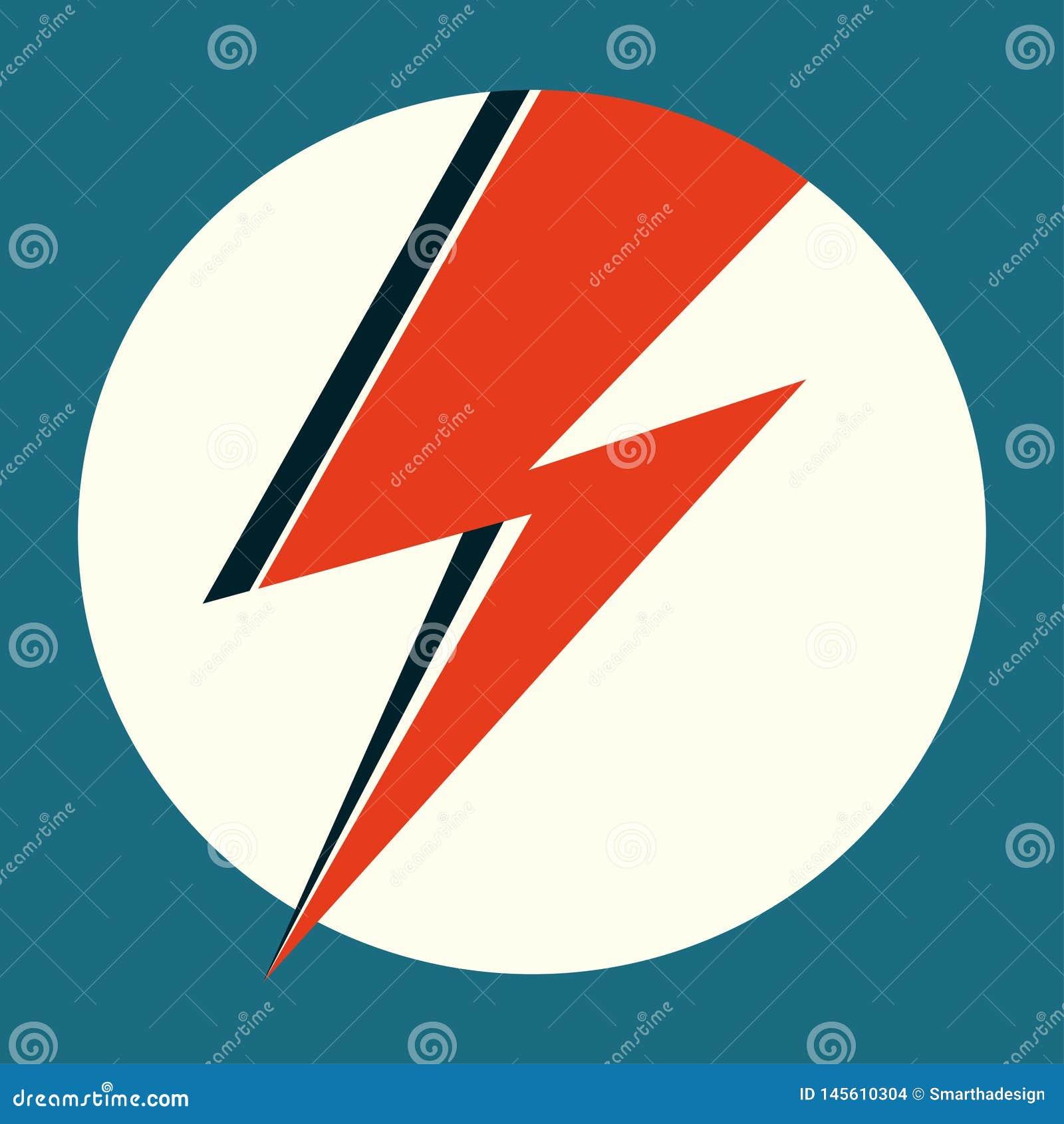 Flash rojo Ejemplo exhausto del vector de la mano con el relámpago en el círculo blanco para el logotipo, cartel, postal, impresi