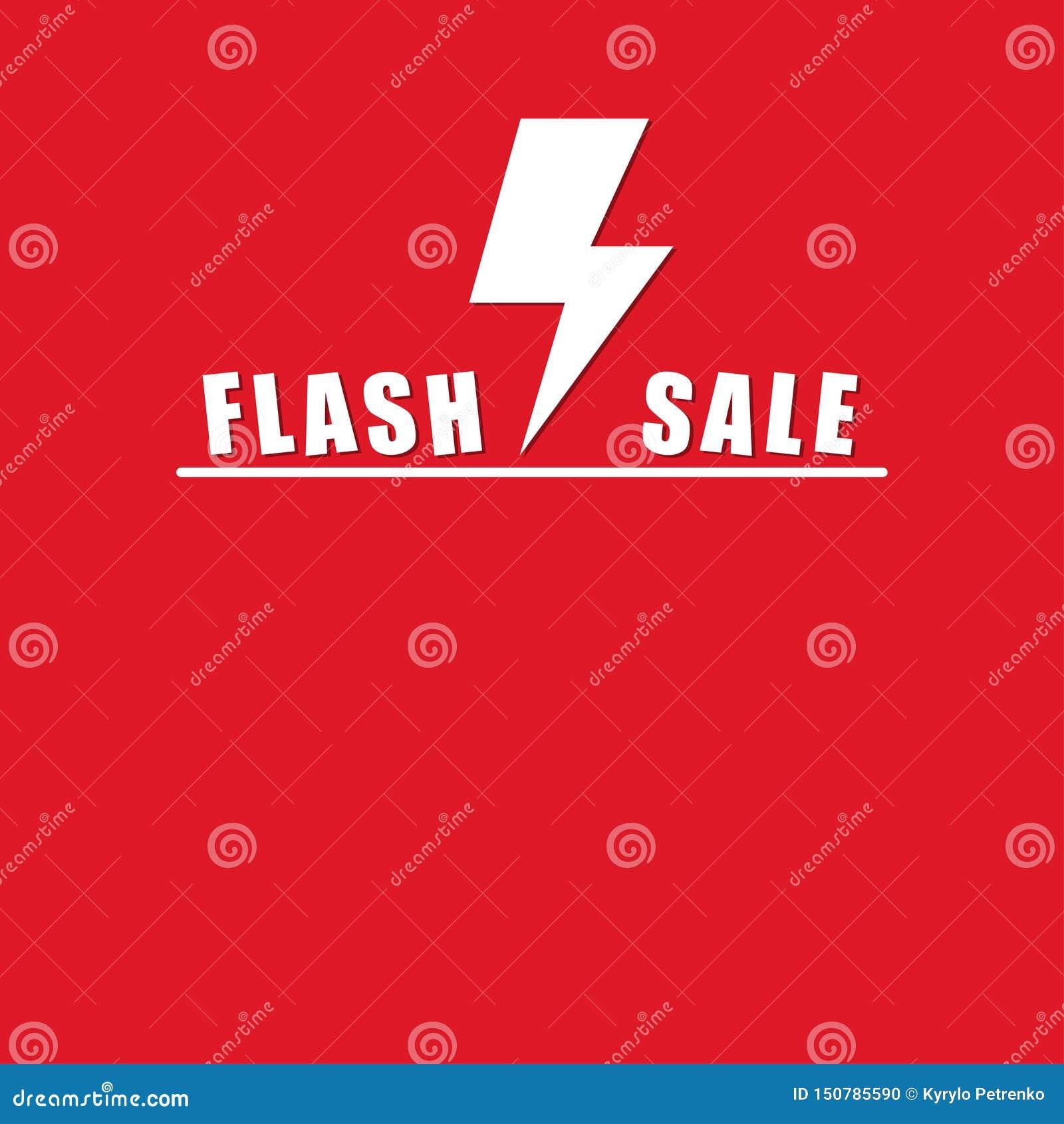 Flash sale on red background mock up