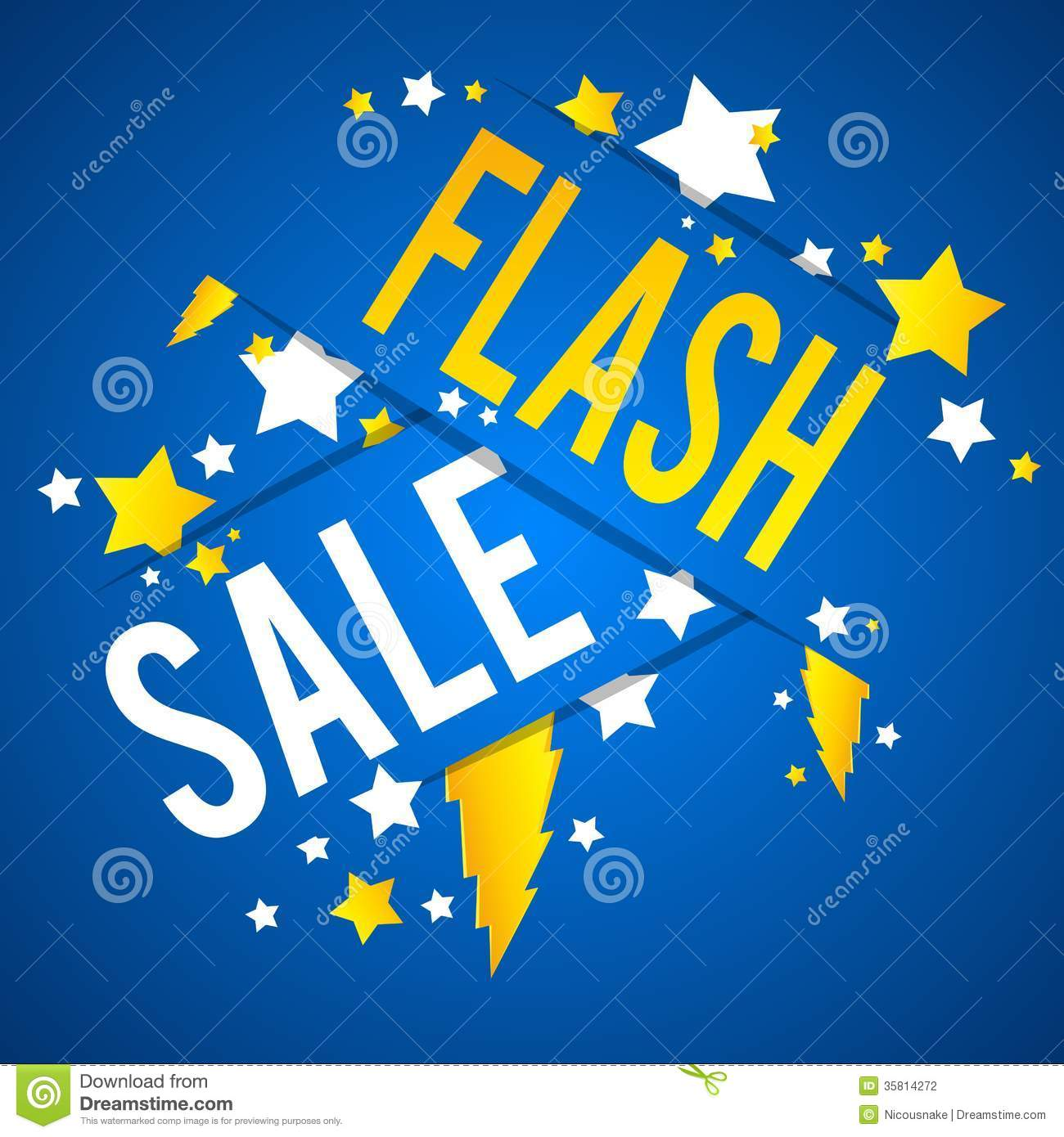 Flash Sale With Thunder and Stars on Blue Background vector ...