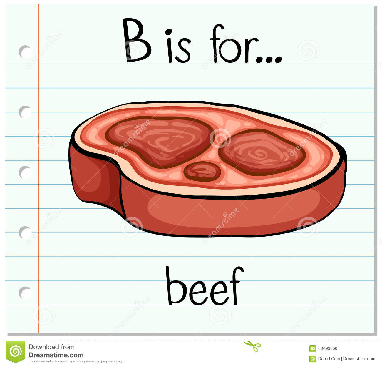 Flashcard Alphabet B Is For Beef Stock Vector Illustration Of