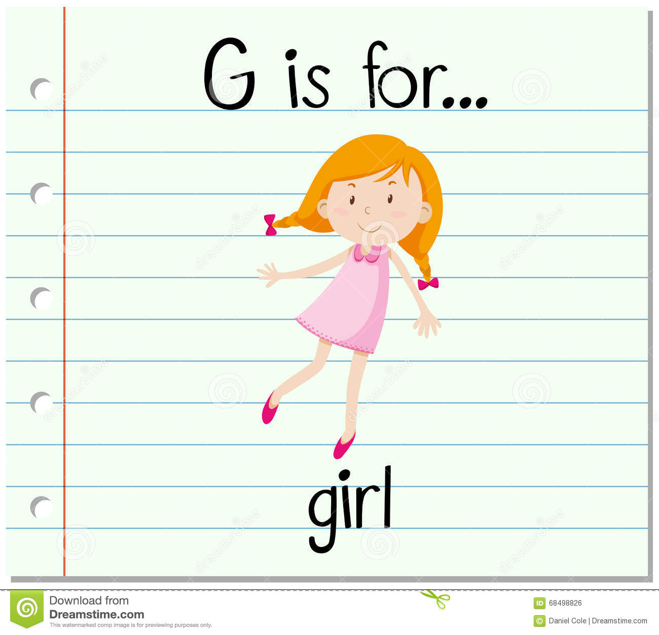 flashcard alphabet g is for girl stock vector image student writing clipart free writing lines clipart free