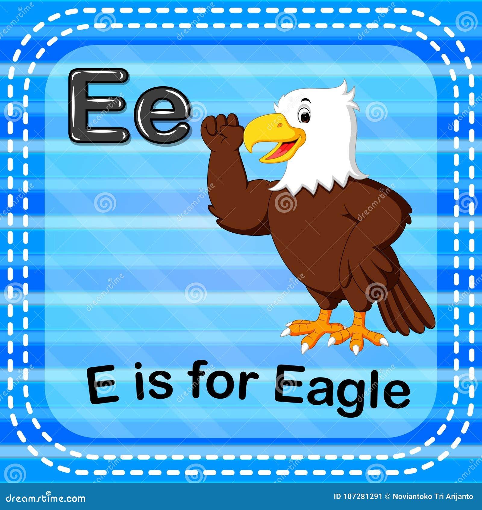 Flashcard bokstav E är för örn