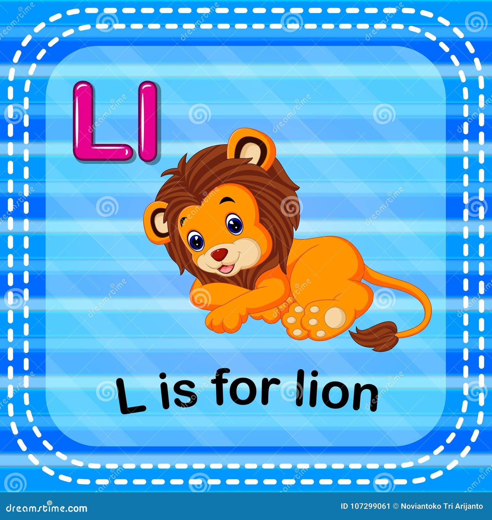 Flashcard bokstav L är för lejon