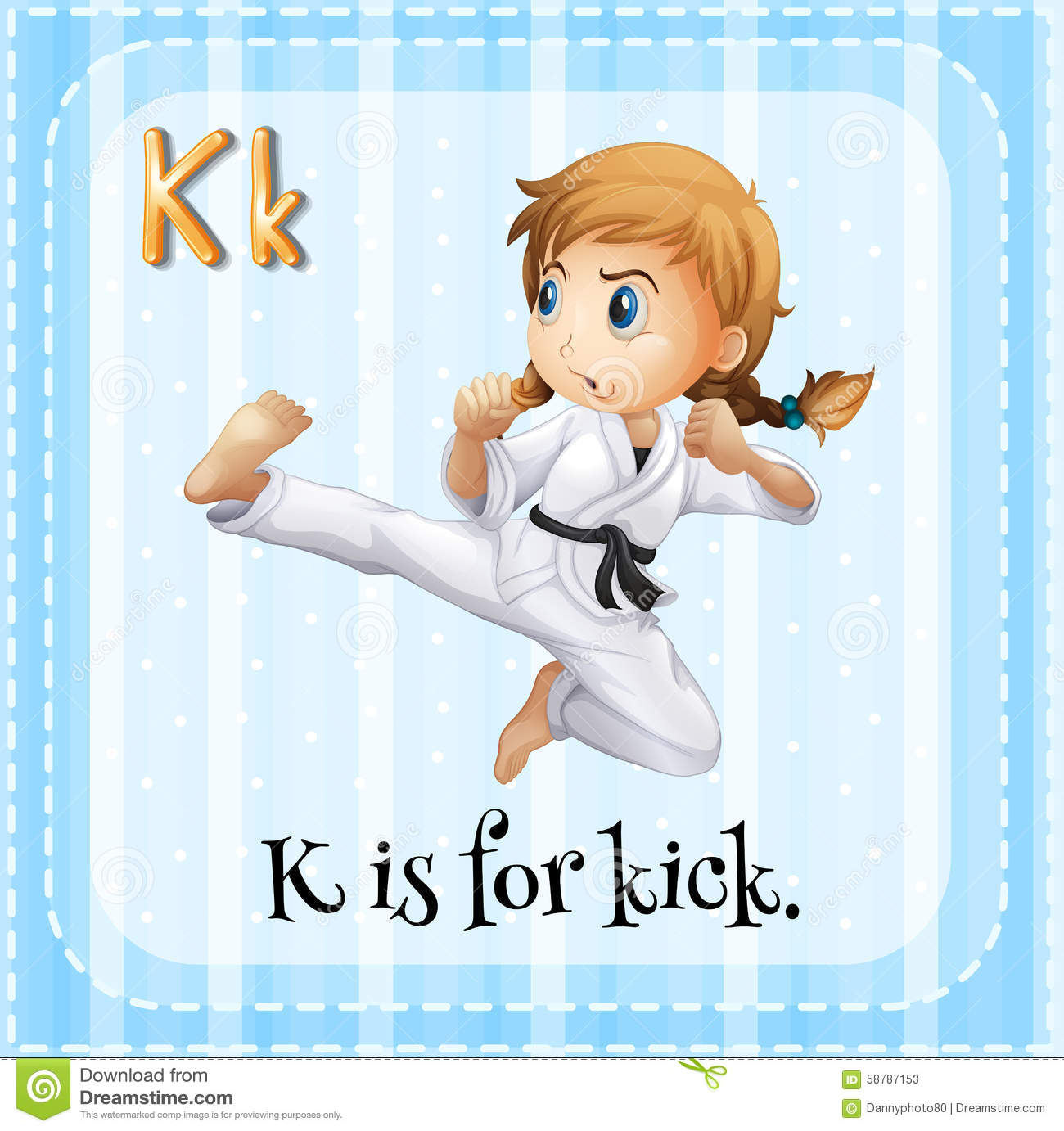 flashcard of k is for kick stock vector illustration of letters