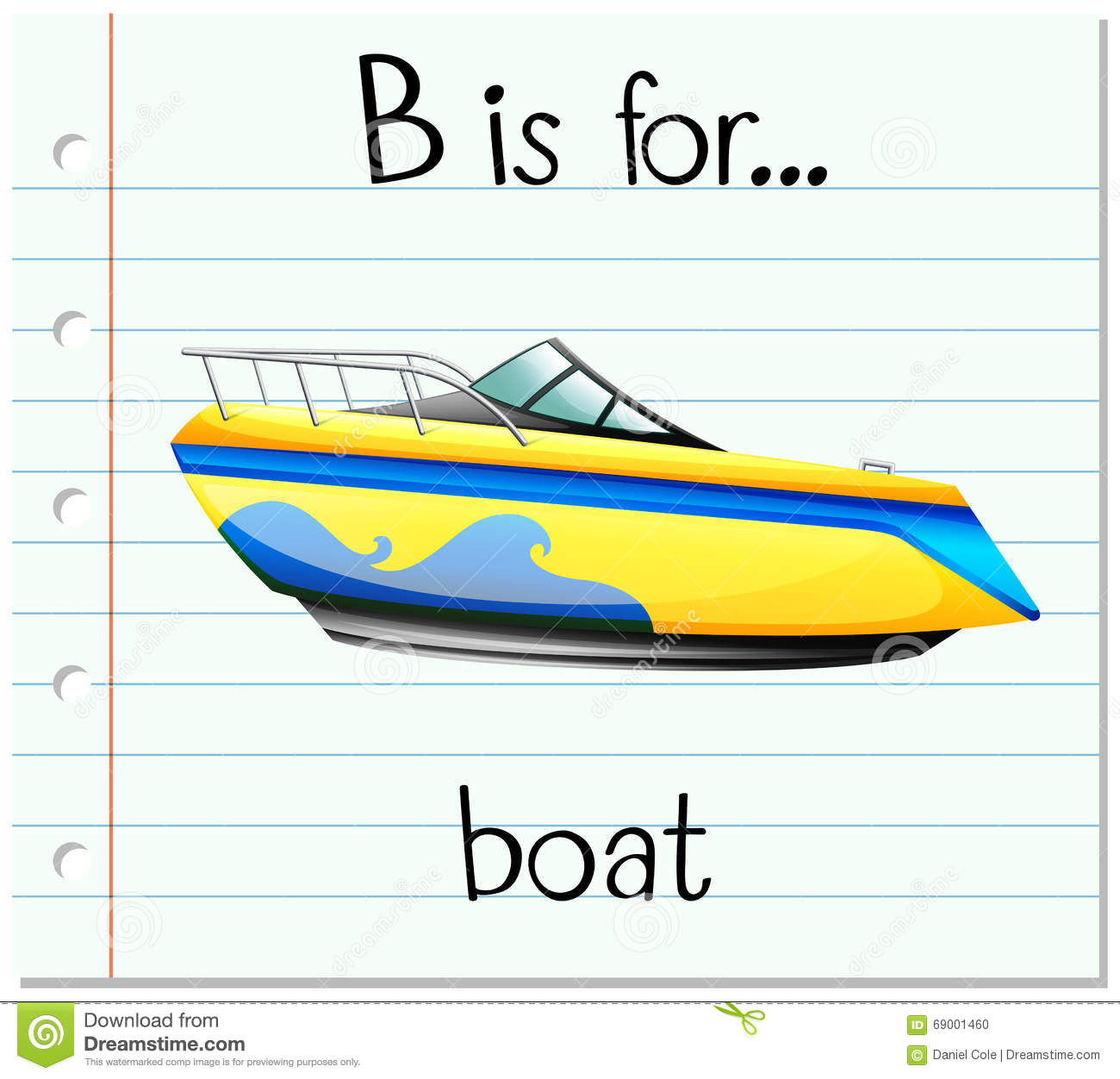 Flashcard Letter B Is For Boat Stock Vector - Image: 69001460